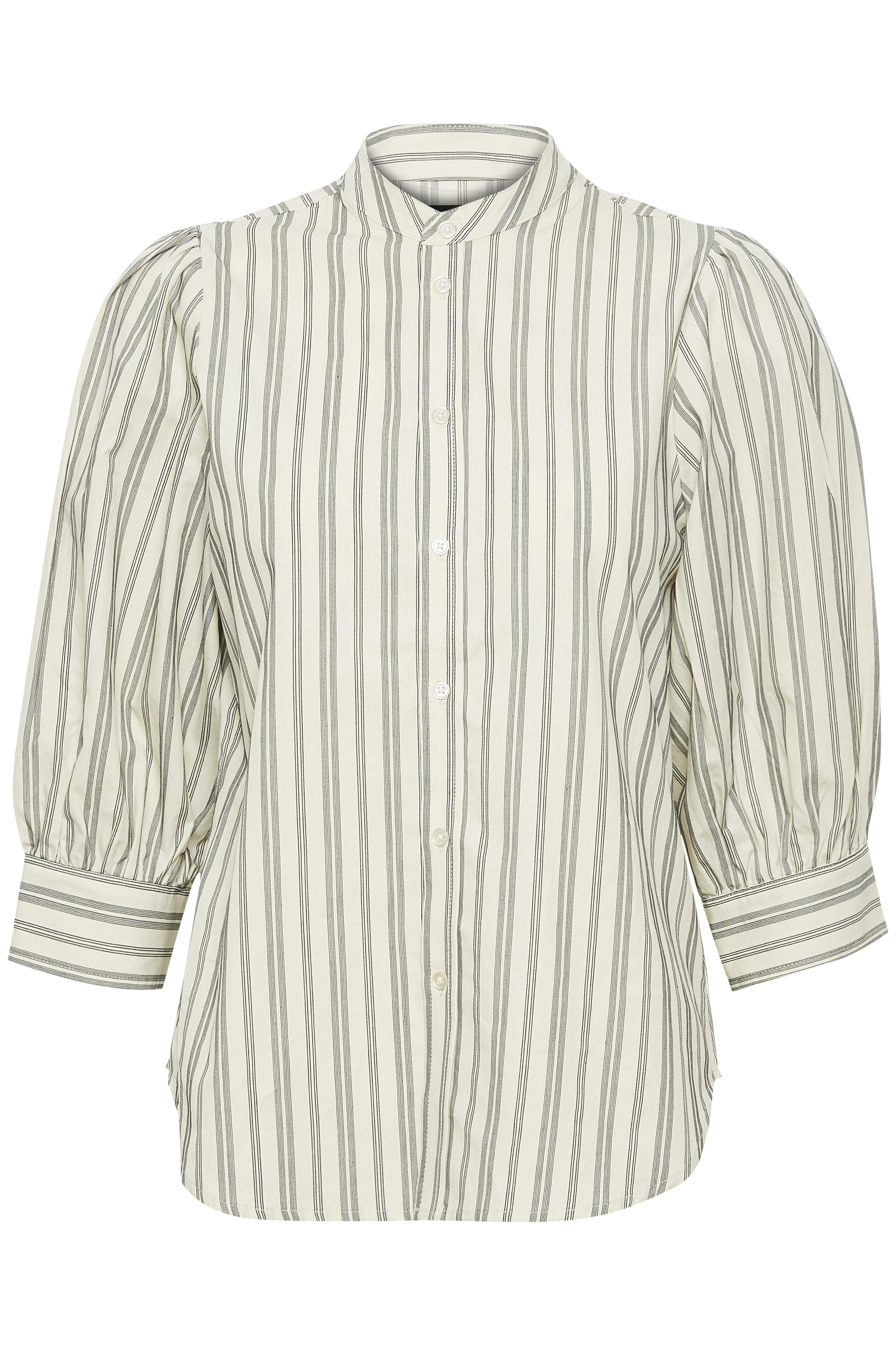 Soaked in Luxury Dame Langærmet skjorte - Antique White/ Brindle Stripe