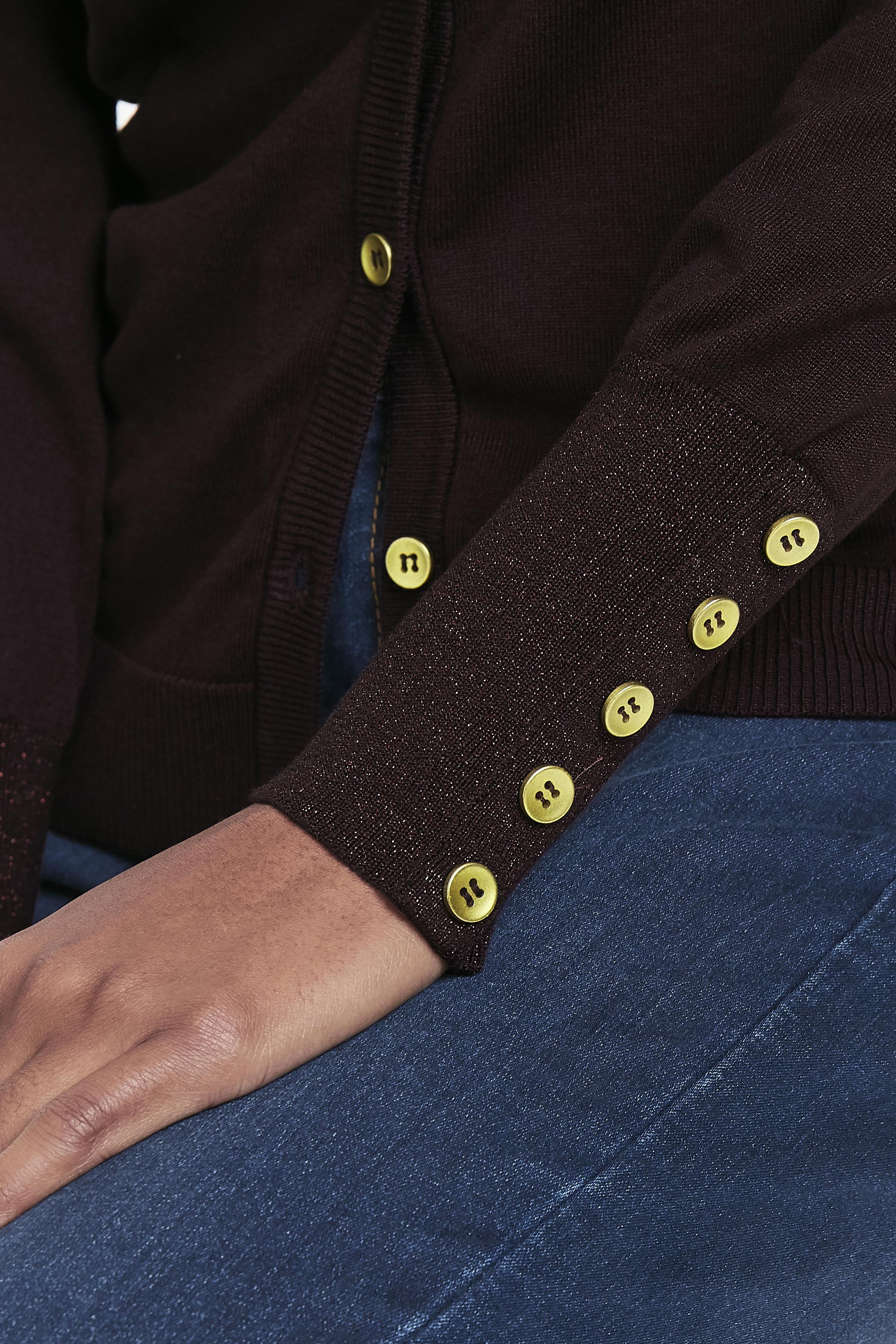Aubergine Stickad cardigan från Bon'A Parte – Köp Aubergine Stickad cardigan från stl. S-2XL här