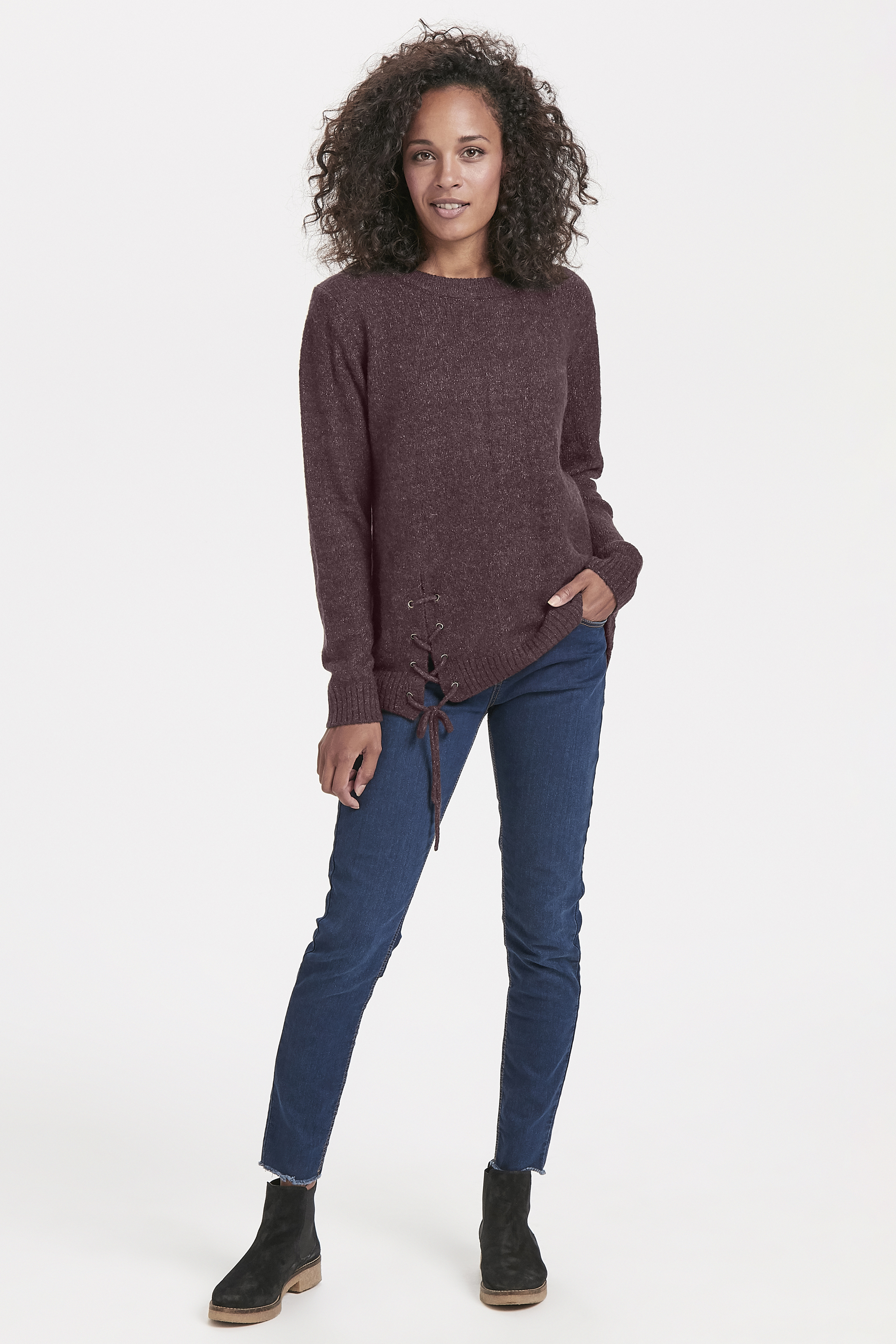 Aubergine Stickad tröja från Bon'A Parte – Köp Aubergine Stickad tröja från stl. S-2XL här