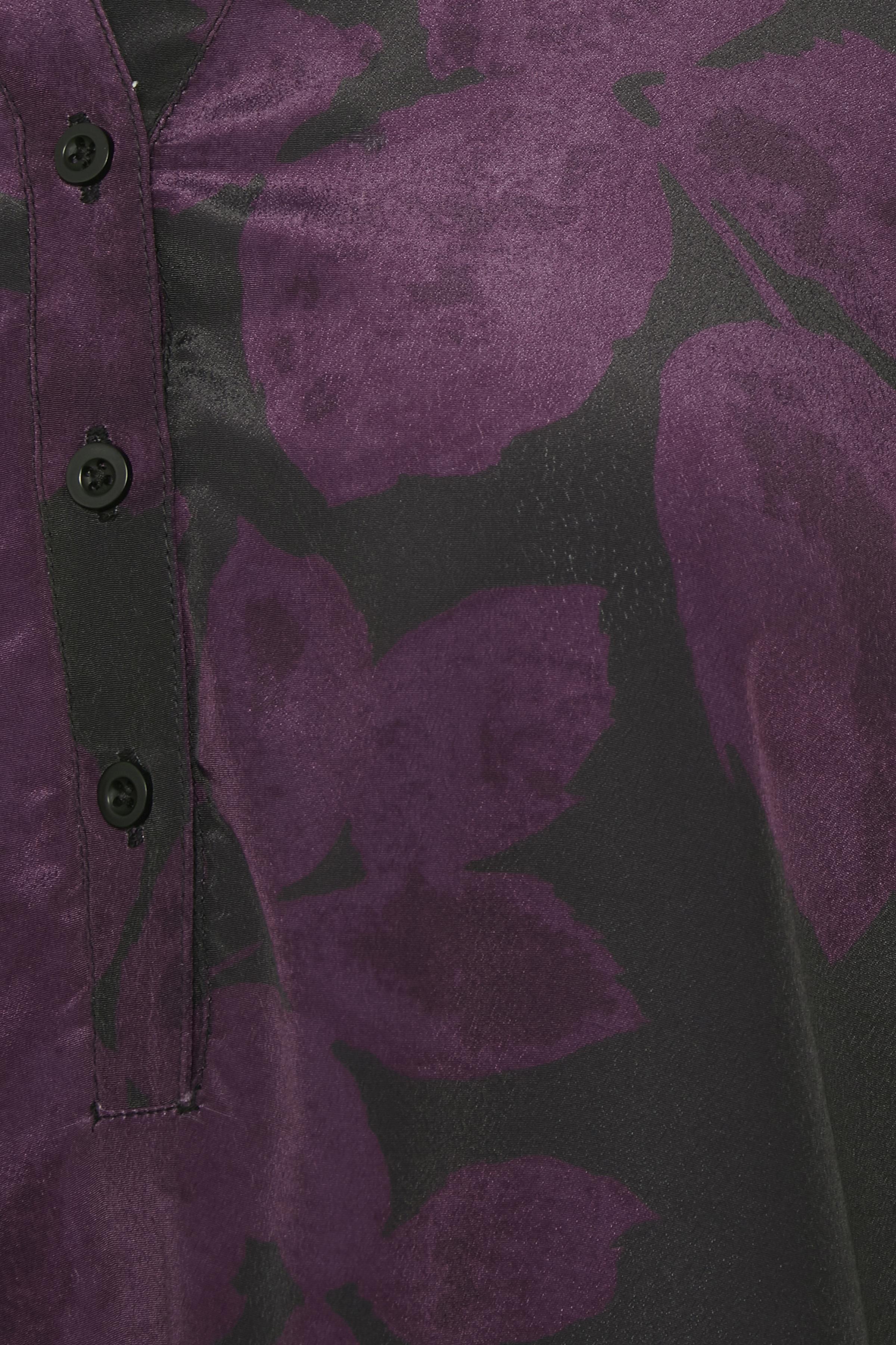 Aubergine/svart Långärmad blus från Bon'A Parte – Köp Aubergine/svart Långärmad blus från stl. S-2XL här