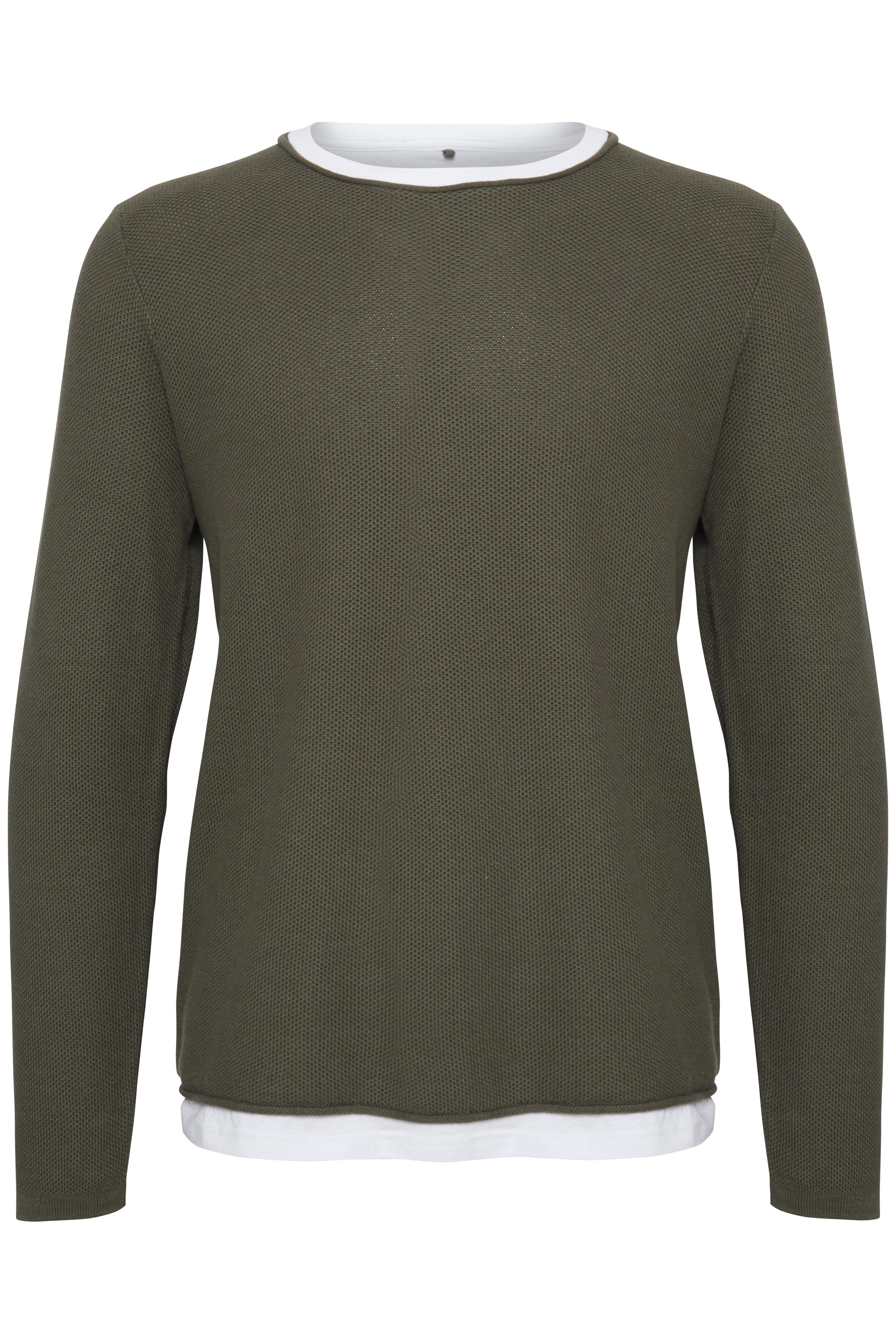 Billede af Blend He Herre Pullover med lange ærmer og rund hals. BLEND pullover har T-shirt effekt nederst og ved hals. Sweateren  - Beetle Green