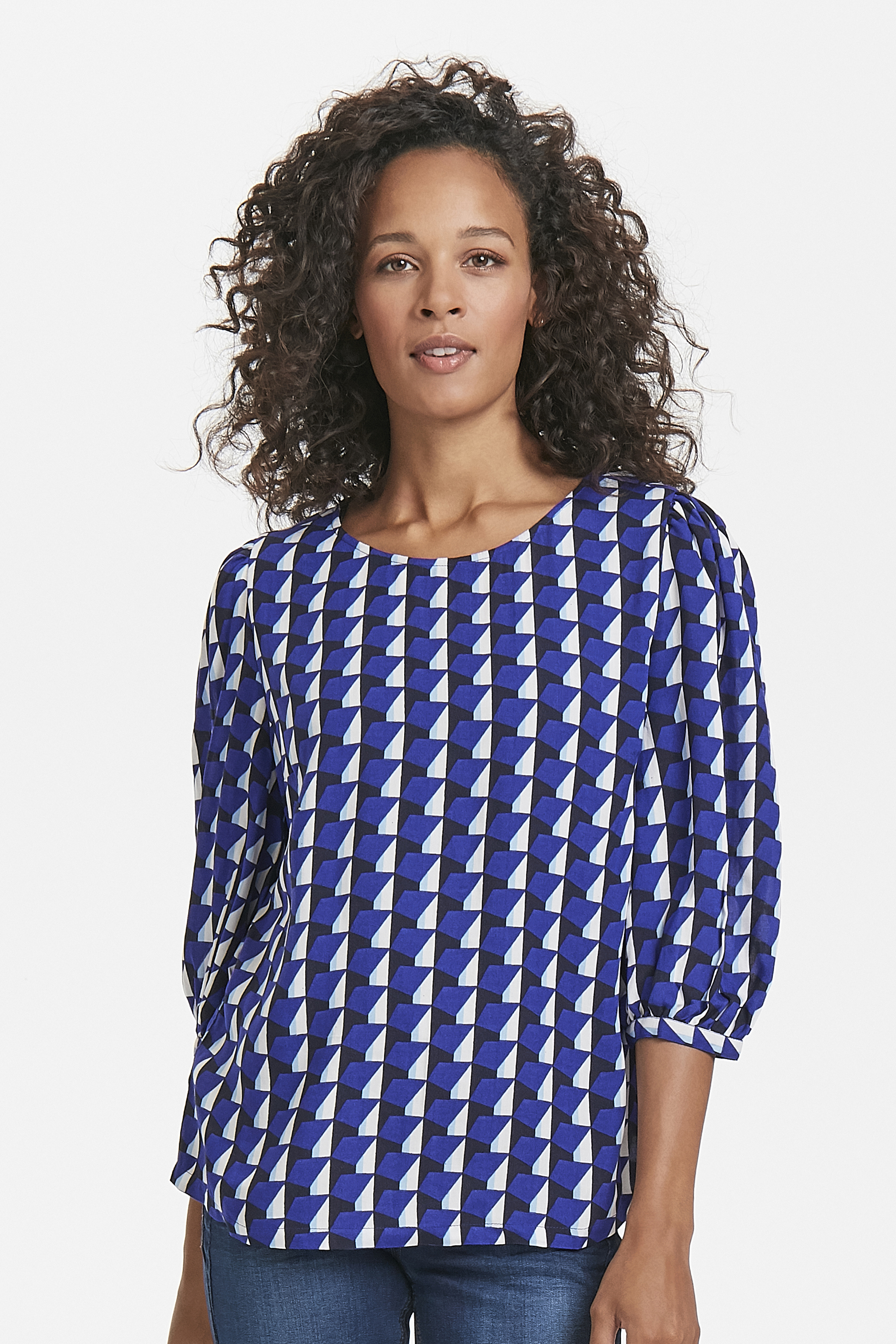 Blå/hvid Bluse  fra Fransa – Køb Blå/hvid Bluse  fra str. XS-XXL her