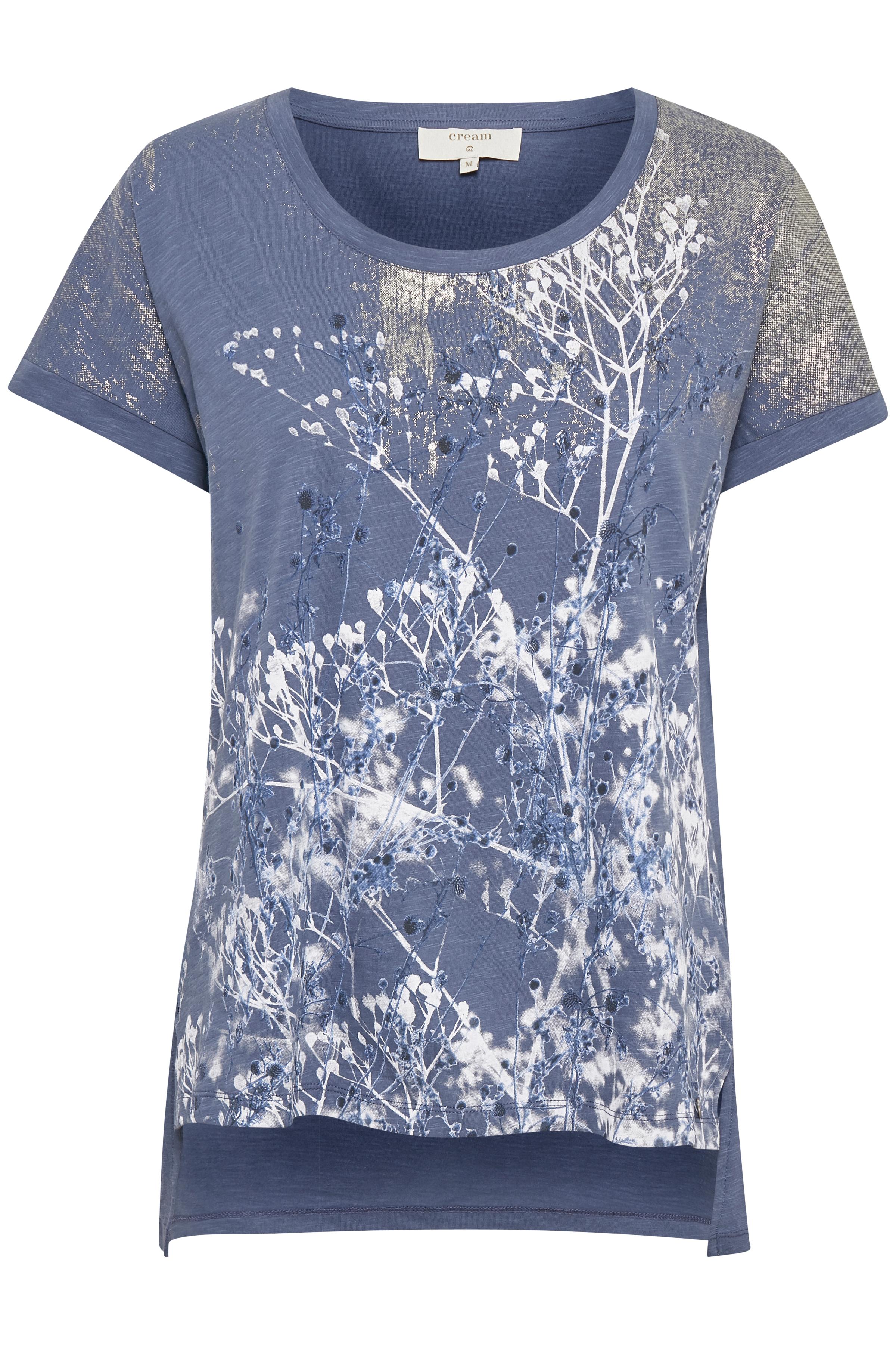 Image of Cream Dame T-shirt - Blå/hvid