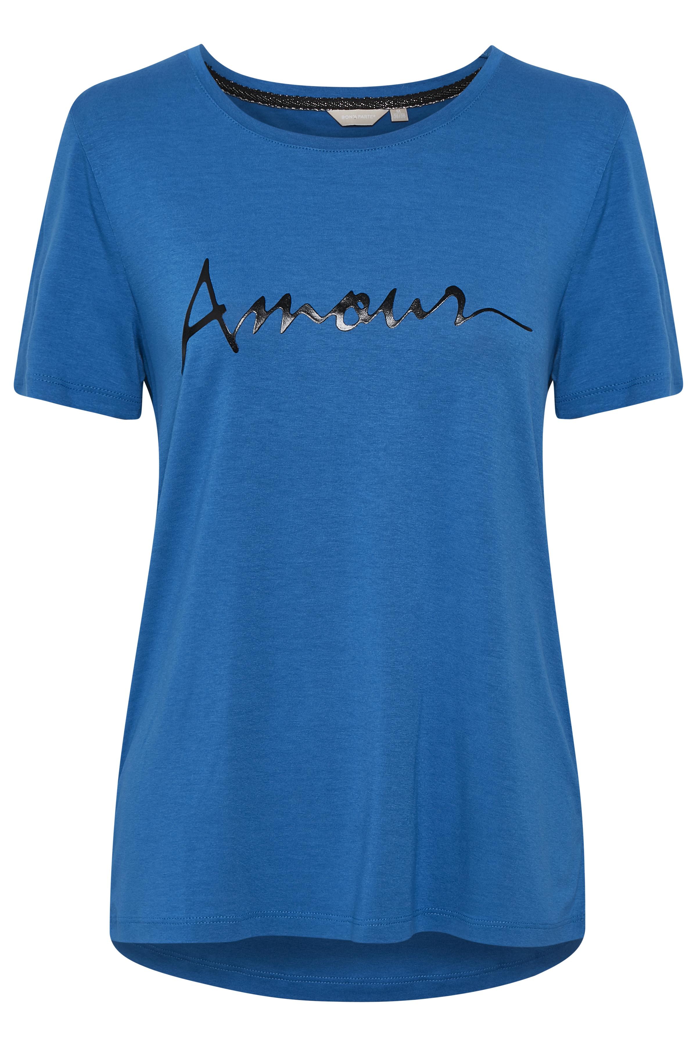 Blå Kortærmet T-shirt fra Bon'A Parte – Køb Blå Kortærmet T-shirt fra str. S-2XL her