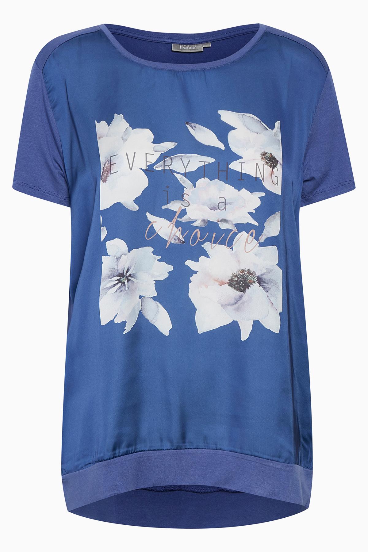Image of Fransa Dame Fin Nigiflower T-shirt - Blå