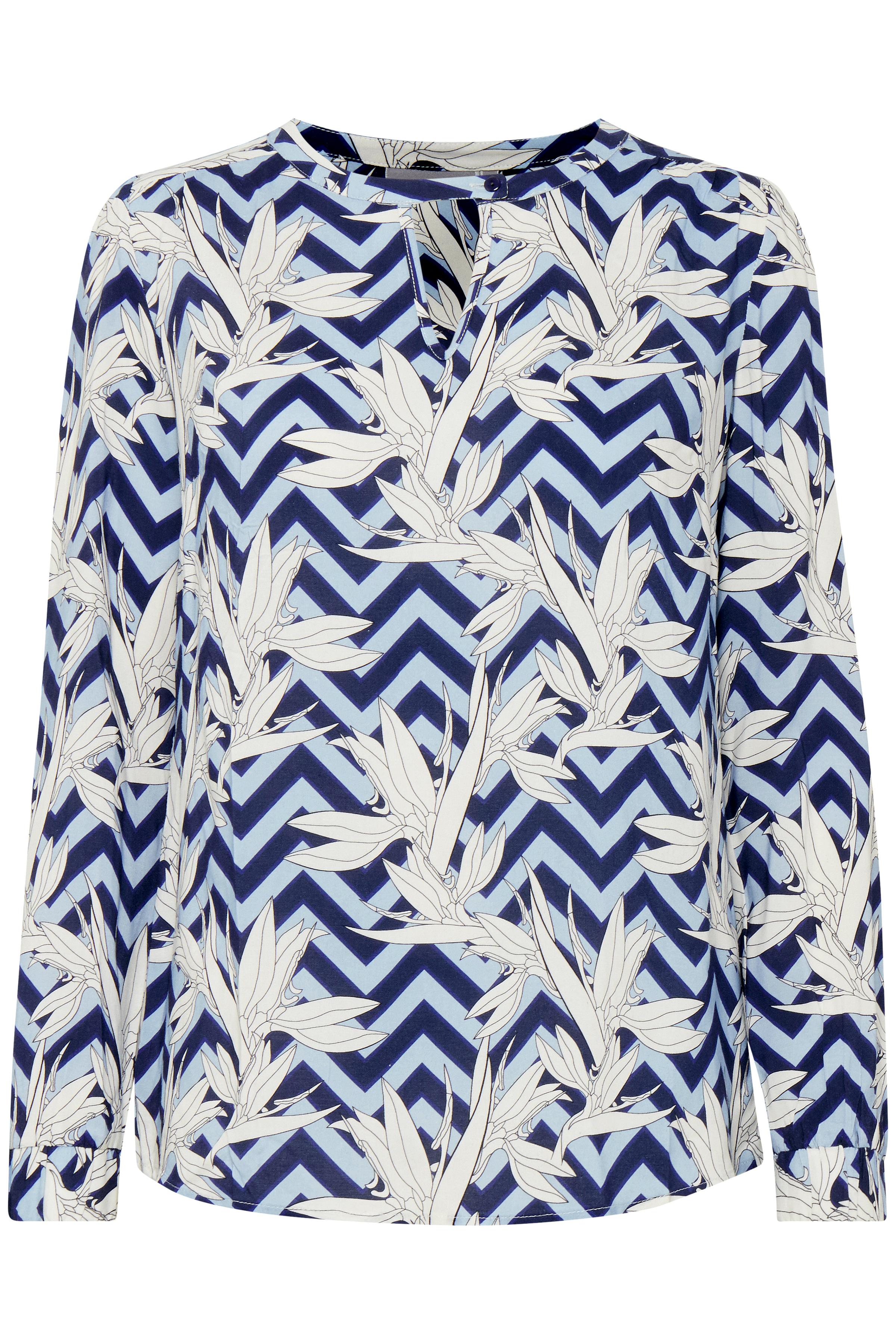 Blå/off-white Bluse fra Fransa – Køb Blå/off-white Bluse fra str. XS-XXL her
