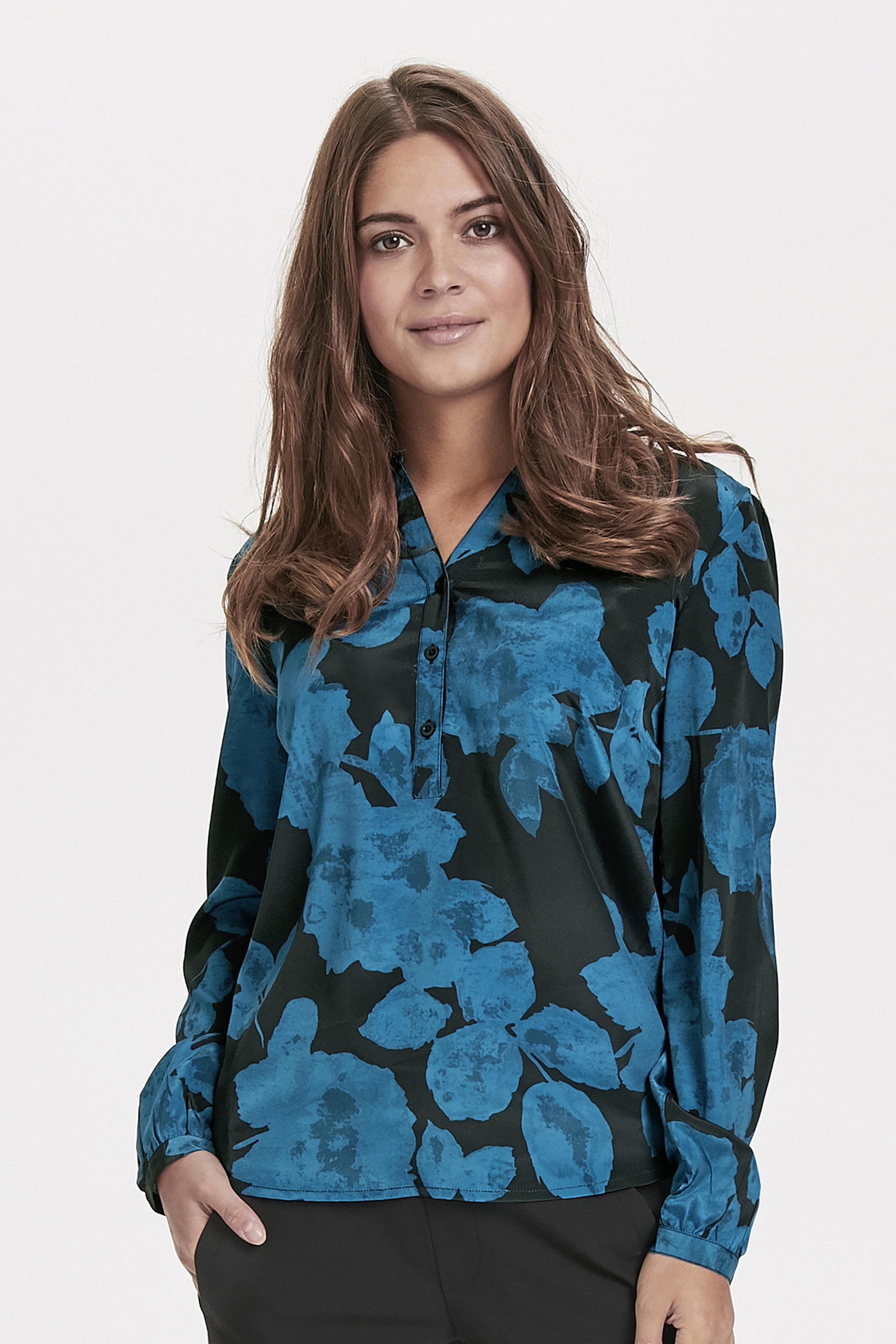 Blå/svart Långärmad blus från Bon'A Parte – Köp Blå/svart Långärmad blus från stl. S-2XL här