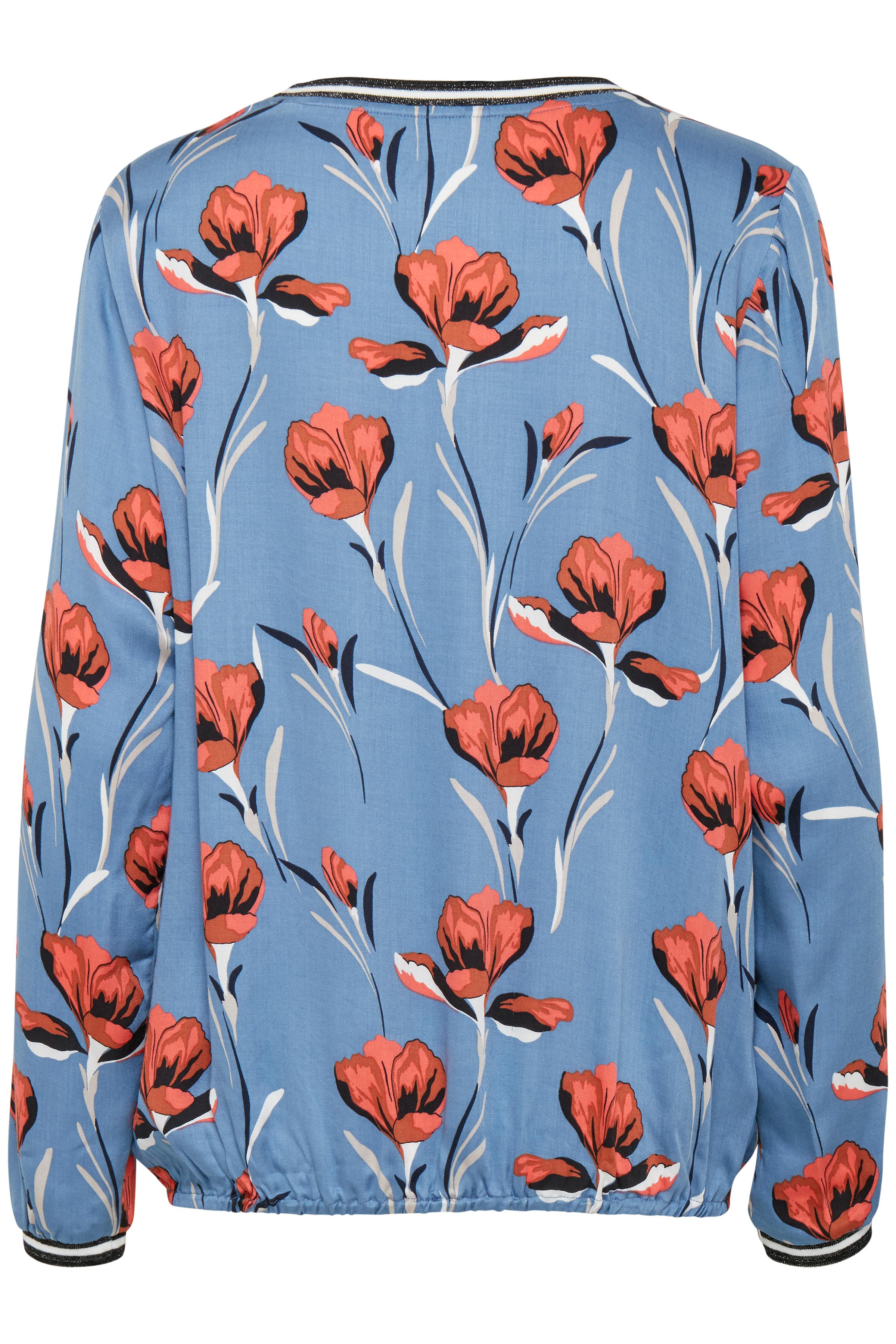 Blågrå/brændt rød Langærmet bluse  fra Pulz Jeans – Køb Blågrå/brændt rød Langærmet bluse  fra str. XS-XXL her
