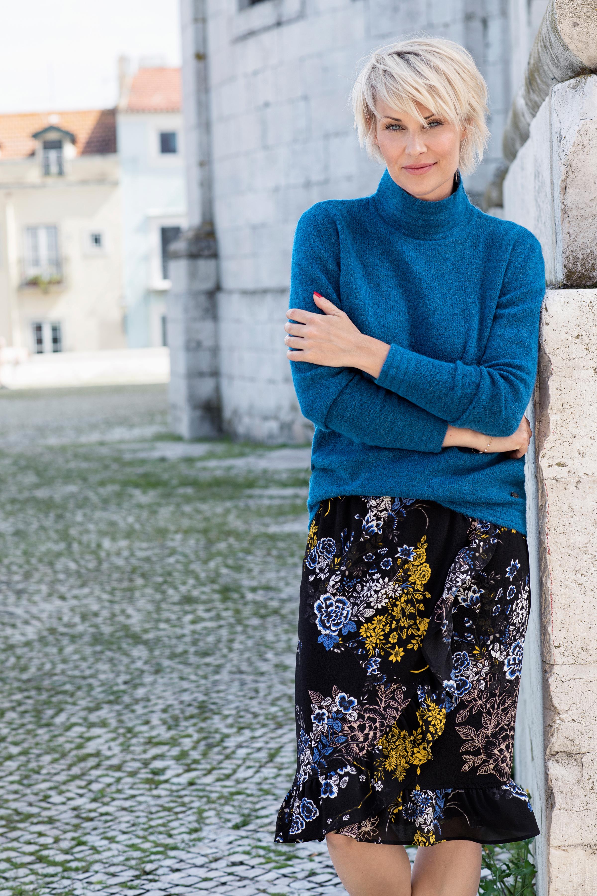 Blåmelerad Stickad pullover från Fransa – Köp Blåmelerad Stickad pullover från stl. XS-XXL här