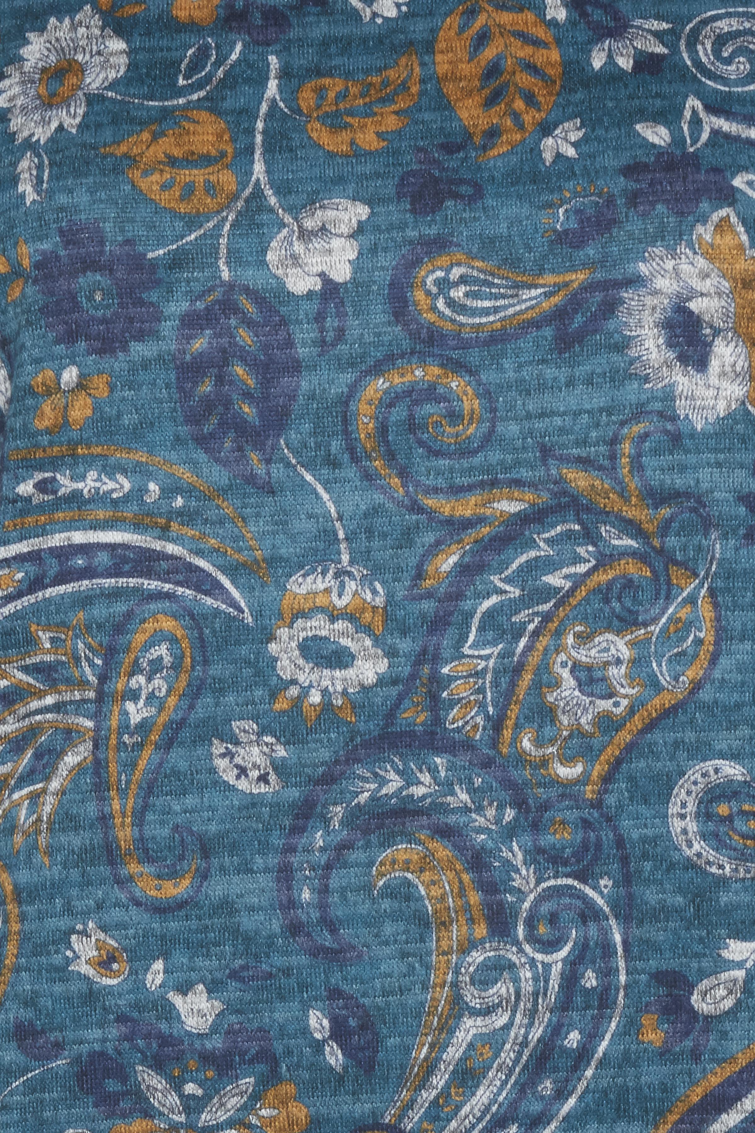 Blåmeleret/karry Strikbluse  fra Dranella – Køb Blåmeleret/karry Strikbluse  fra str. XS-XL her
