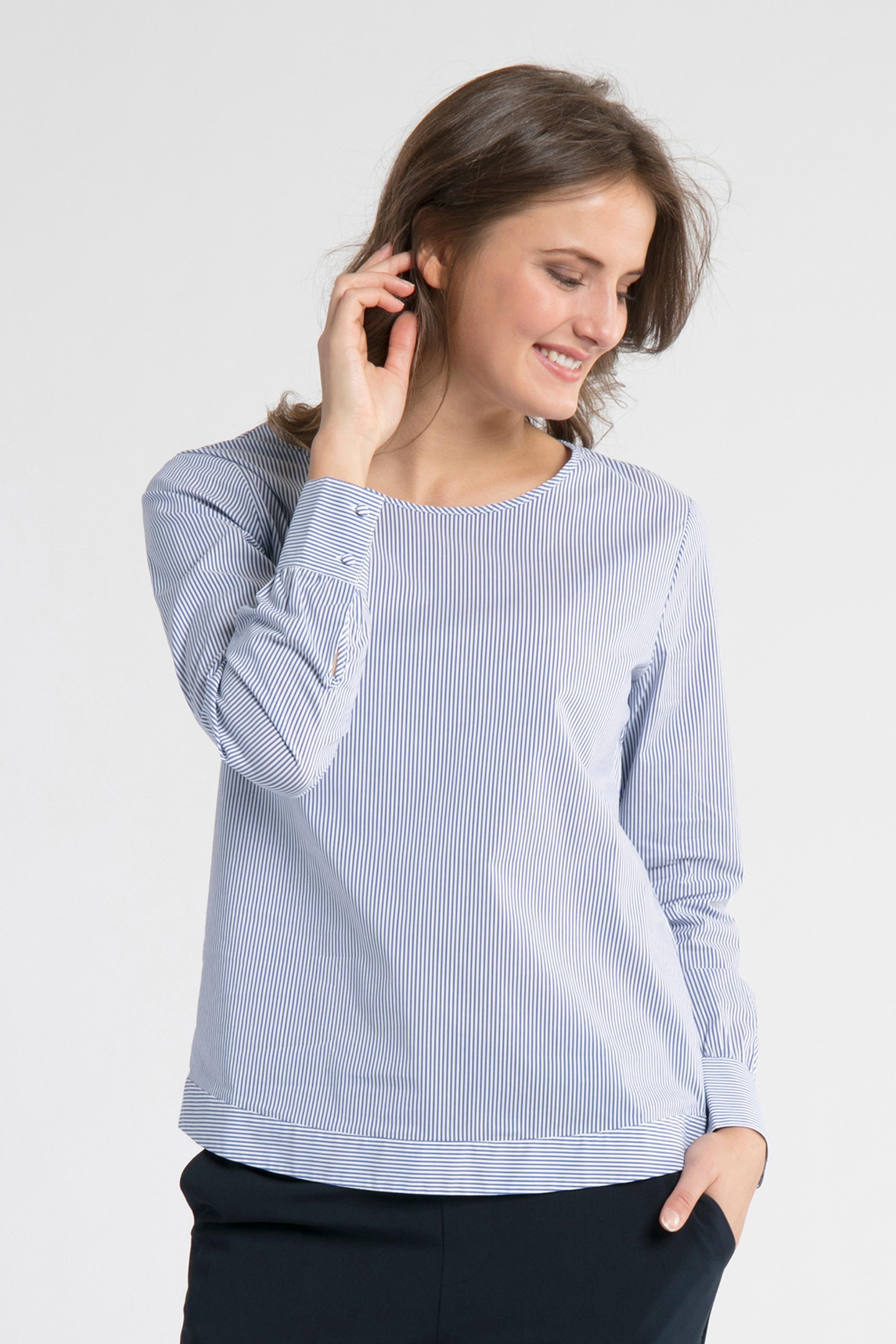 Blau/weiß Langarm-Bluse von Denim Hunter – Shoppen Sie Blau/weiß Langarm-Bluse ab Gr. 34-46 hier