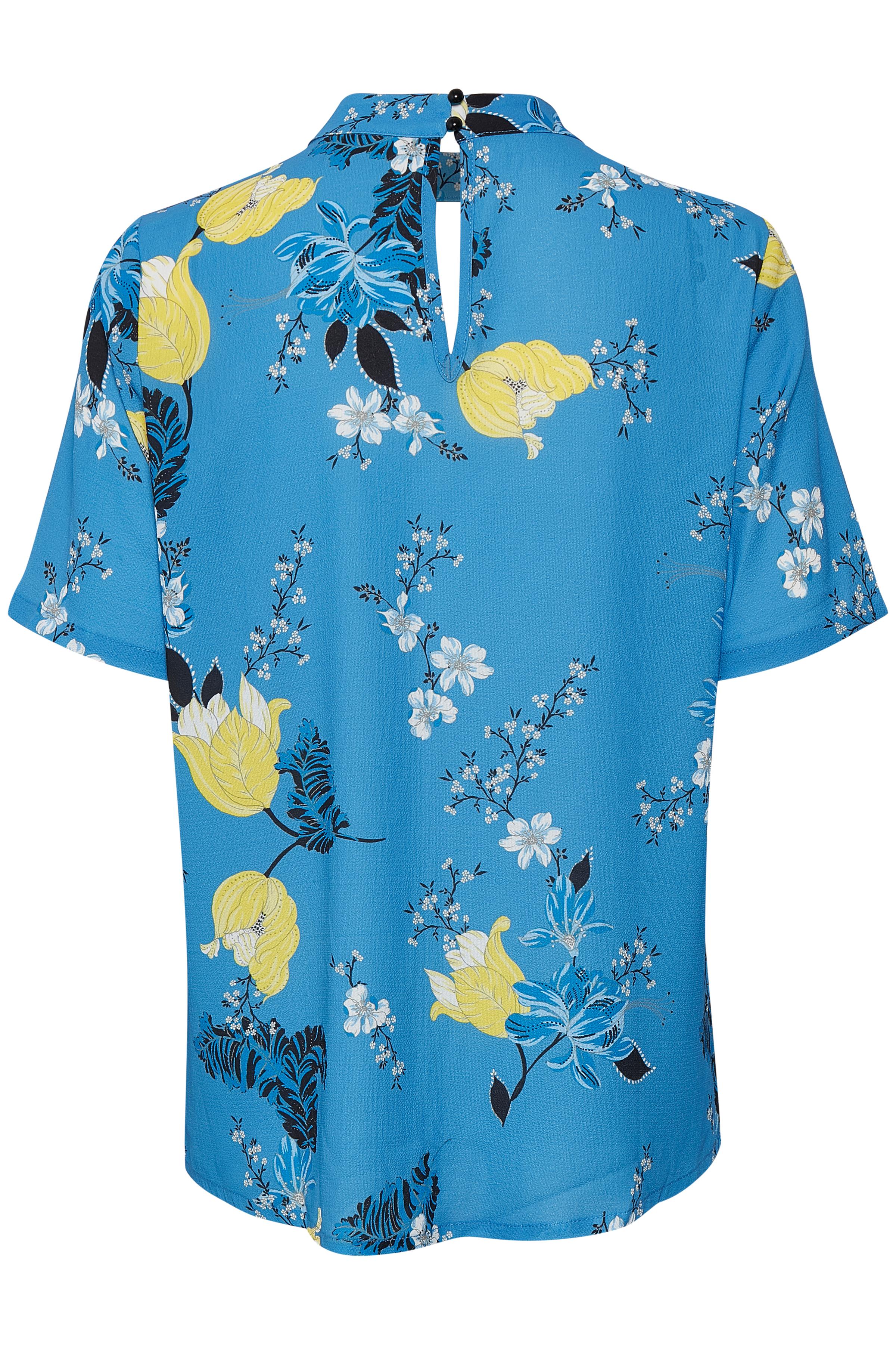 Blauw/geel Korte mouwen shirt  van Kaffe – Door Blauw/geel Korte mouwen shirt  van maat. 34-46 hier