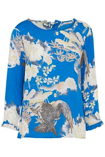 Dranella Dame Blouse met lange mouwen - Blauw/off-white