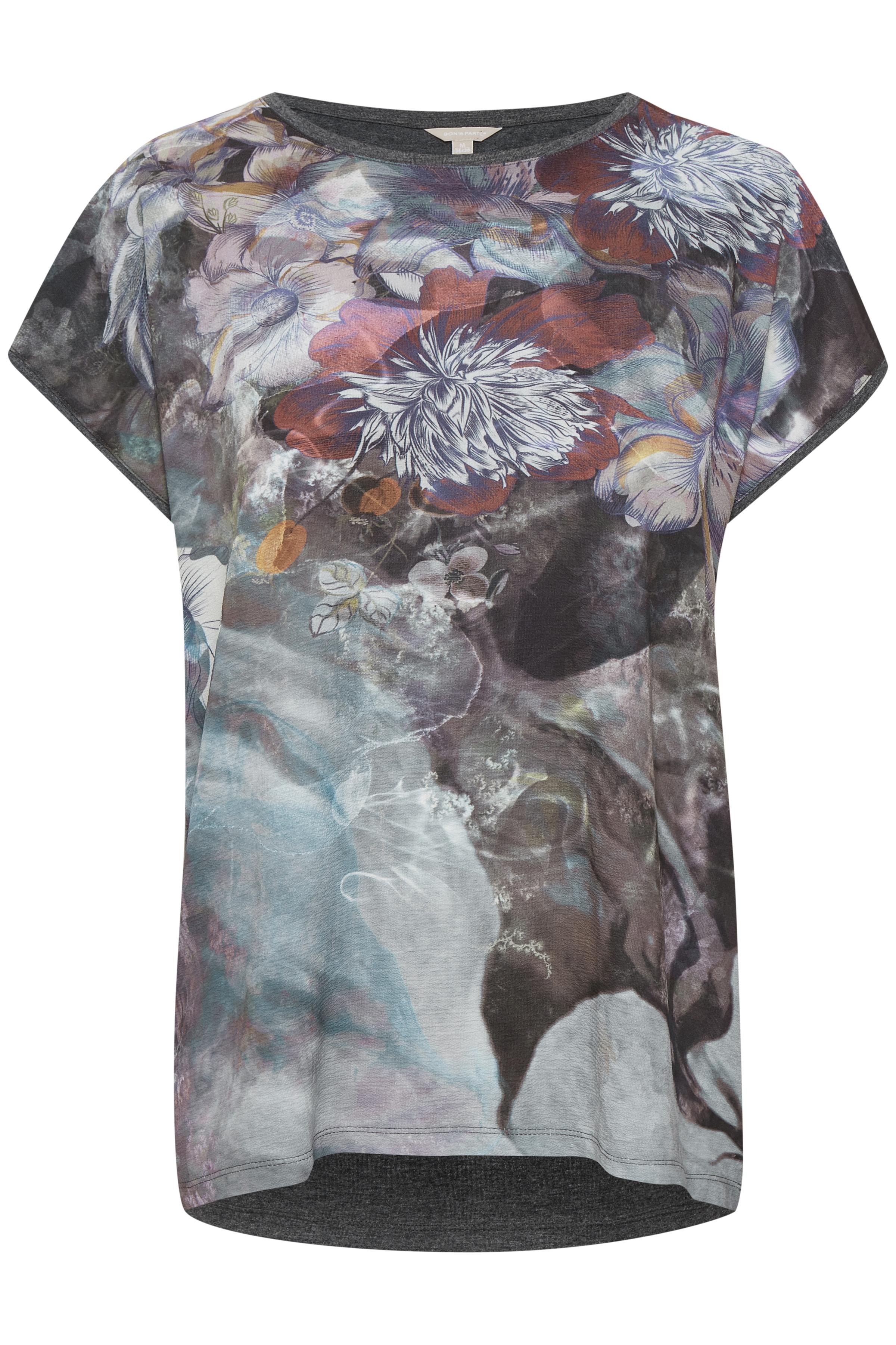 Bordeaux/grå Kortærmet bluse fra Bon'A Parte – Køb Bordeaux/grå Kortærmet bluse fra str. S-2XL her