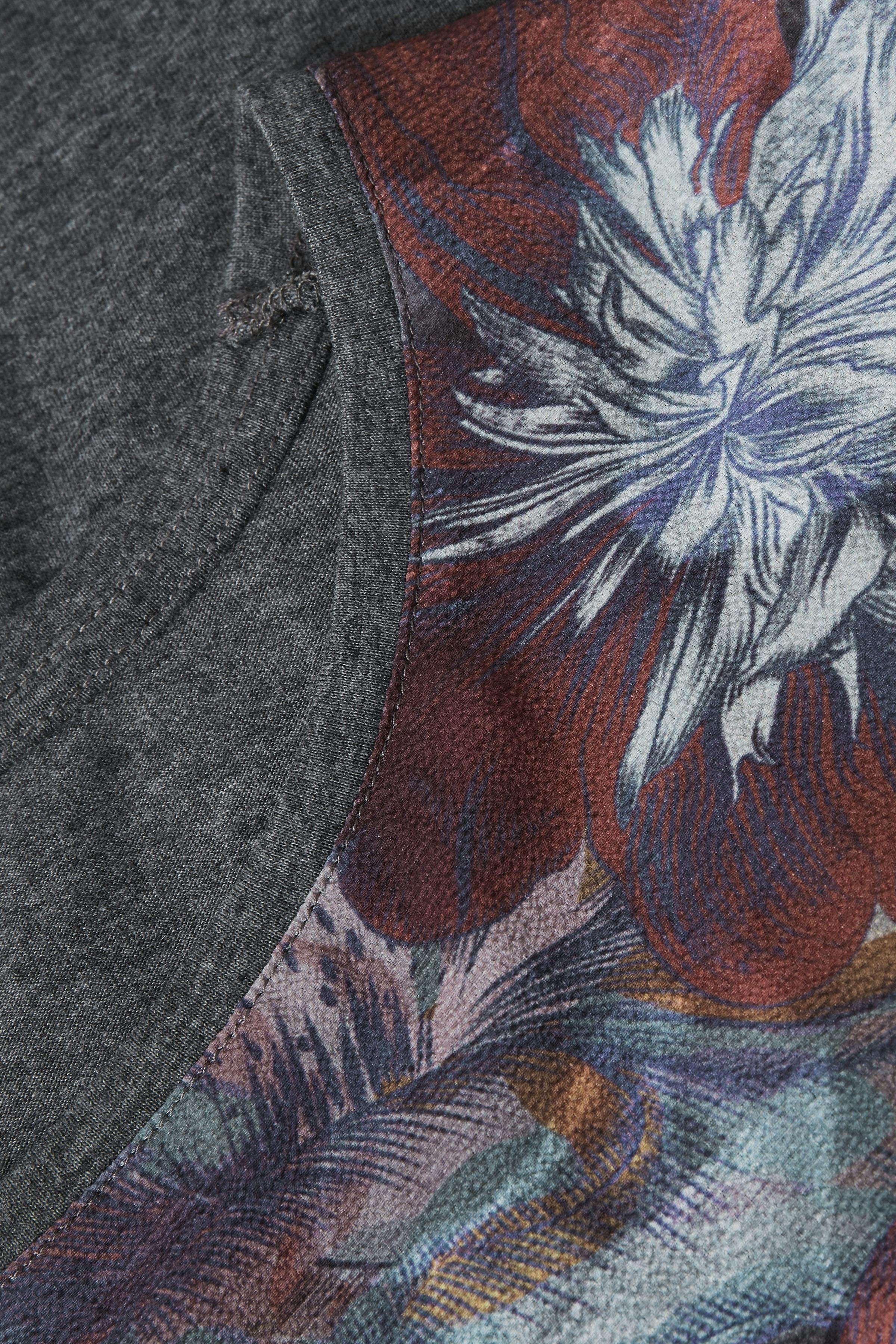 Bordeaux/grå Kortärmad blus från Bon'A Parte – Köp Bordeaux/grå Kortärmad blus från stl. S-2XL här