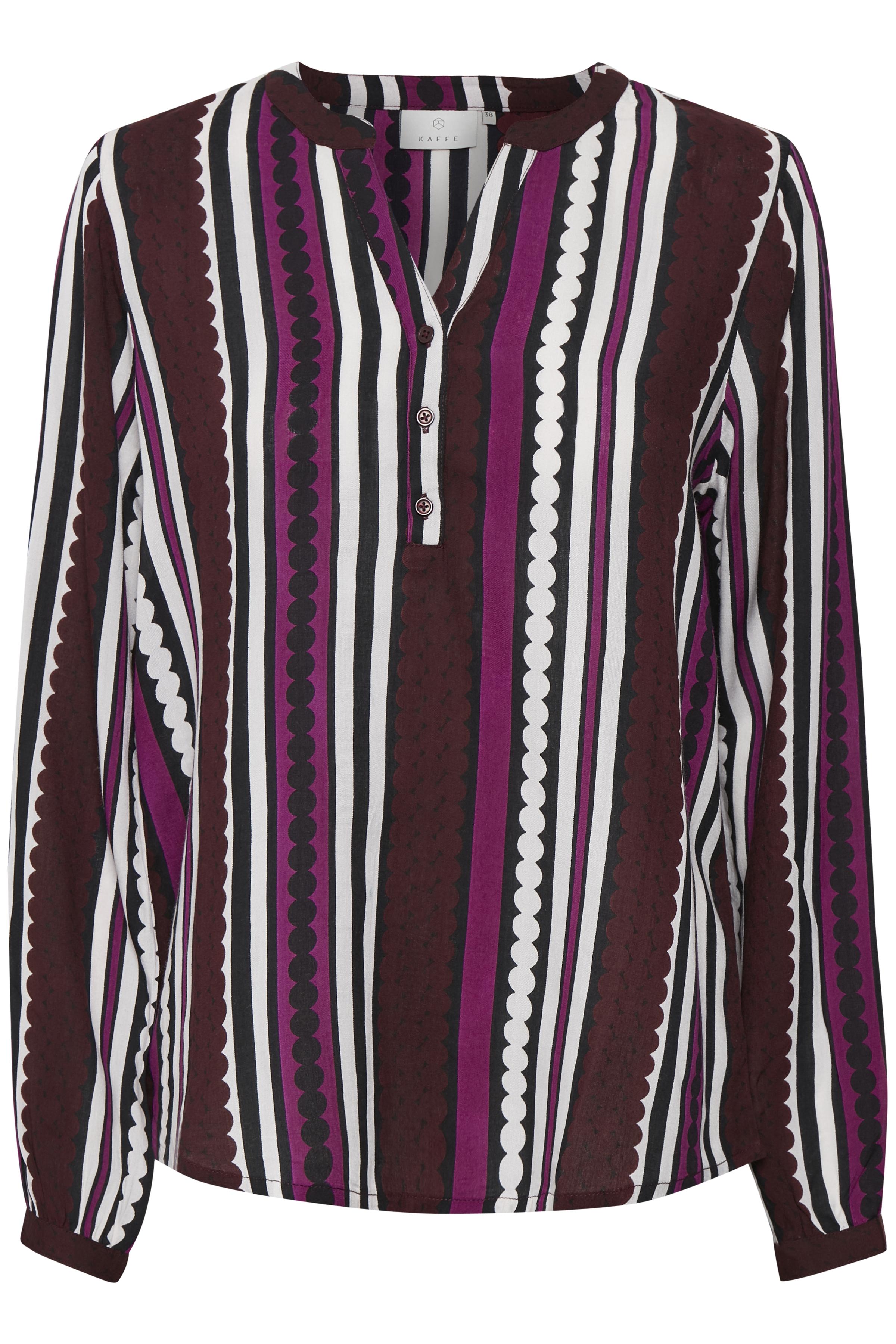 Bordeaux/hvid Langærmet bluse fra Kaffe – Køb Bordeaux/hvid Langærmet bluse fra str. 34-46 her