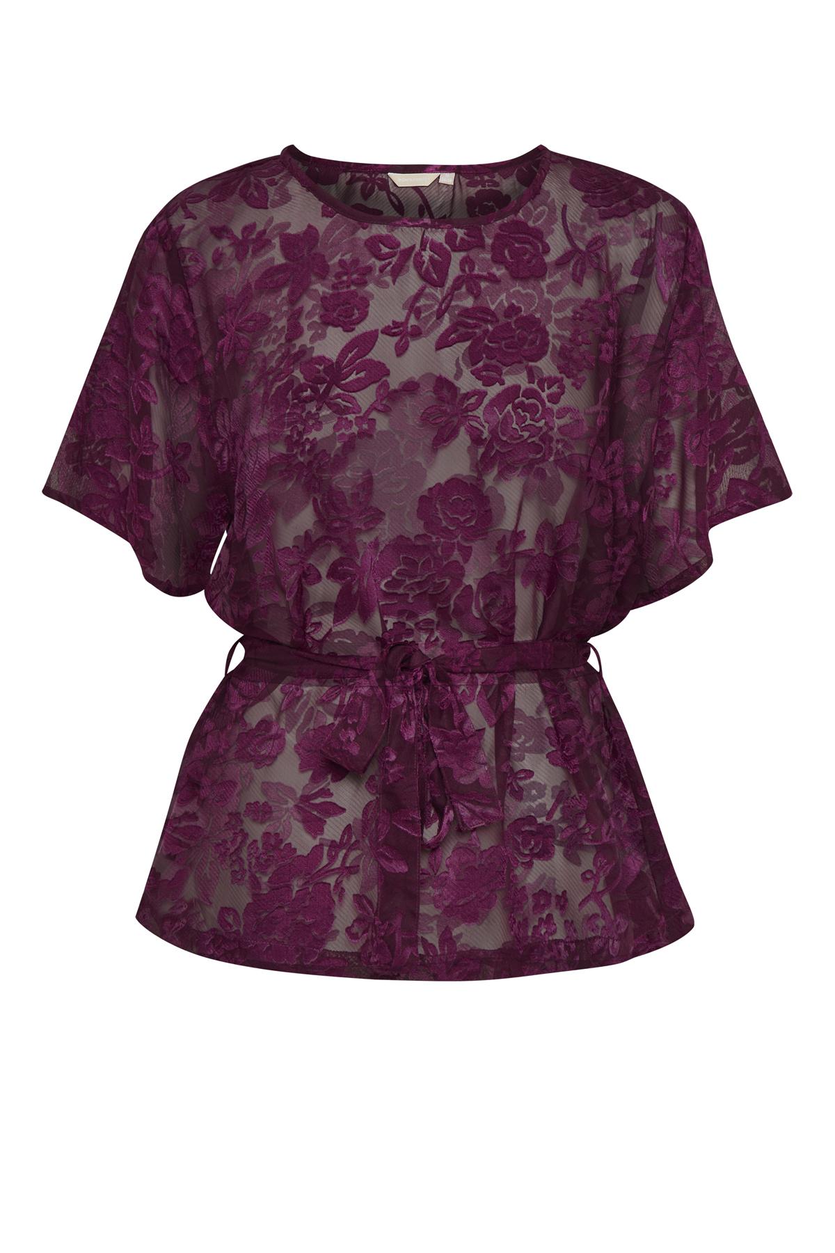 Bordeaux Kurzarm-Bluse  von Bon'A Parte – Shoppen Sie Bordeaux Kurzarm-Bluse  ab Gr. S-2XL hier