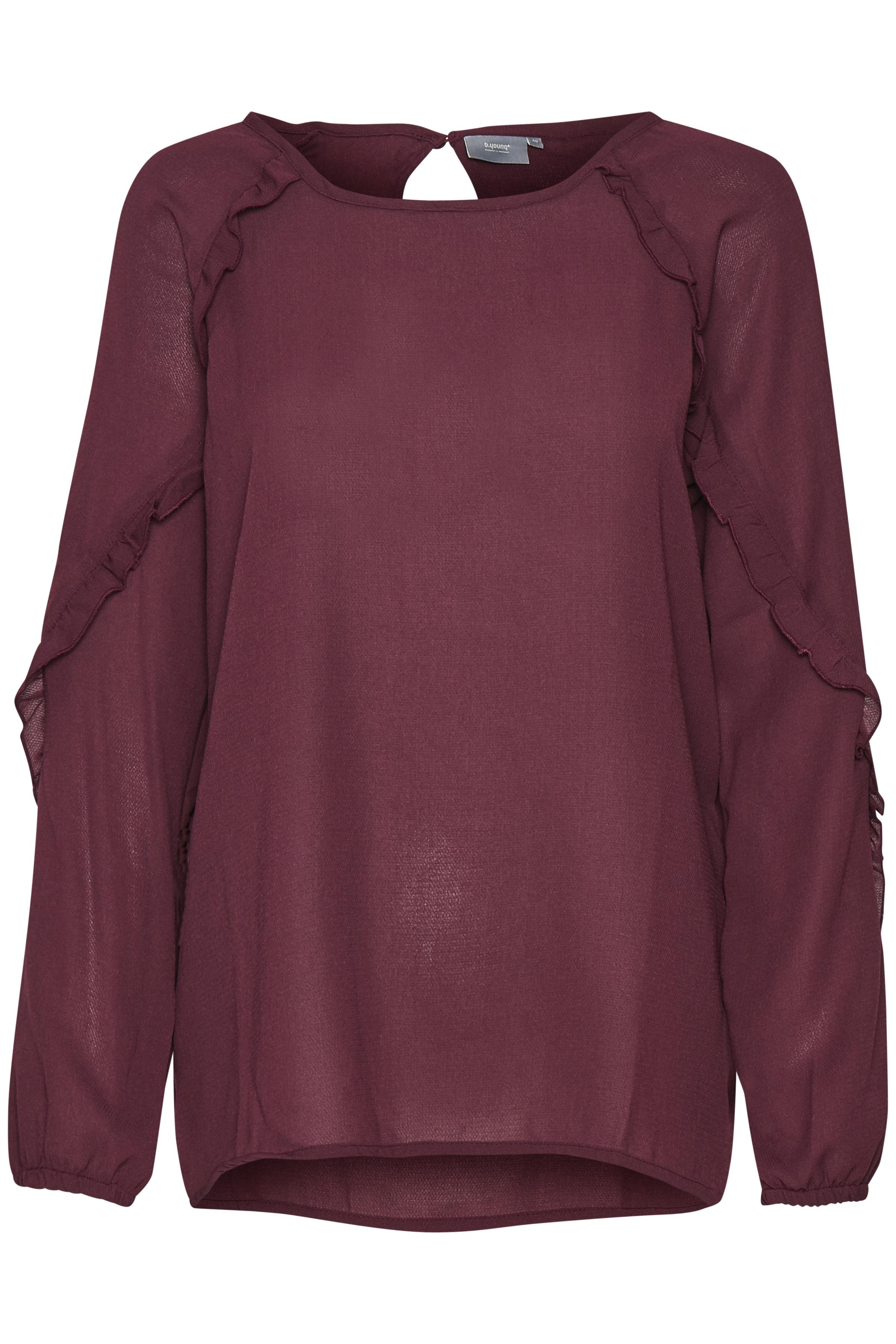Bordeaux Langærmet bluse fra b.young – Køb Bordeaux Langærmet bluse fra str. 34-46 her