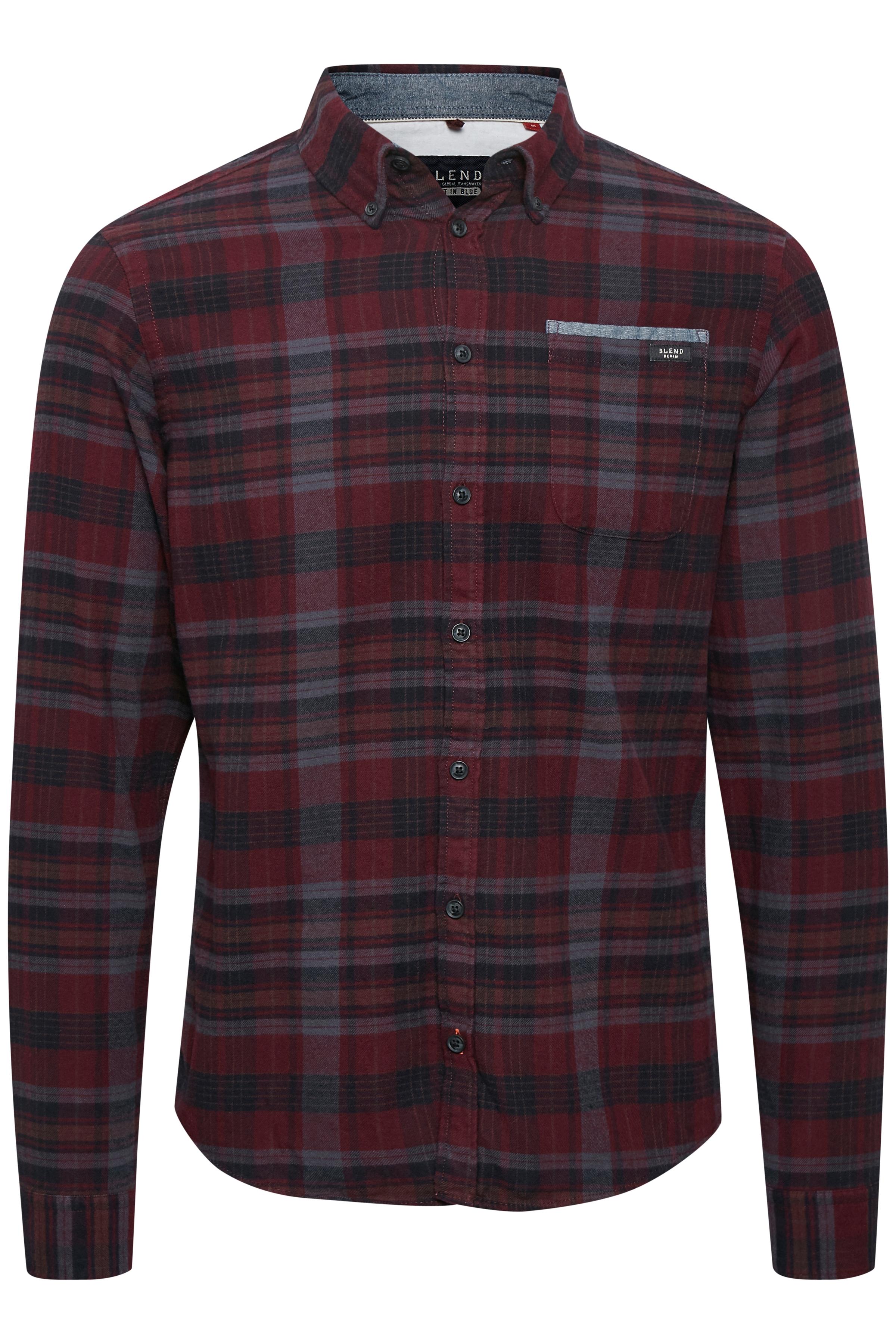 Bordeaux Langærmet skjorte fra Blend He – Køb Bordeaux Langærmet skjorte fra str. S-3XL her