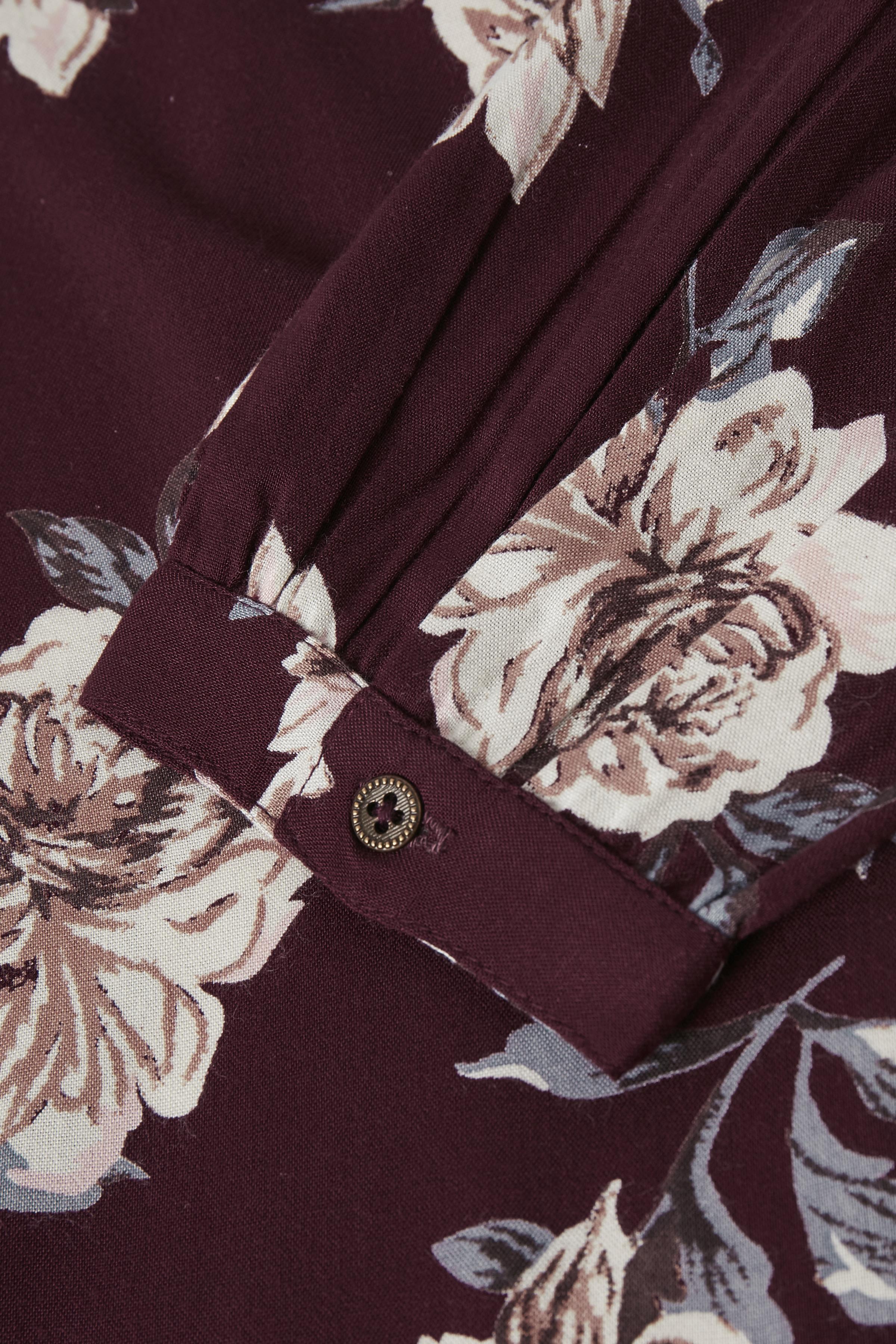 Bordeaux/off-white Lange mouwen shirt  van Bon'A Parte – Door Bordeaux/off-white Lange mouwen shirt  van maat. S-2XL hier