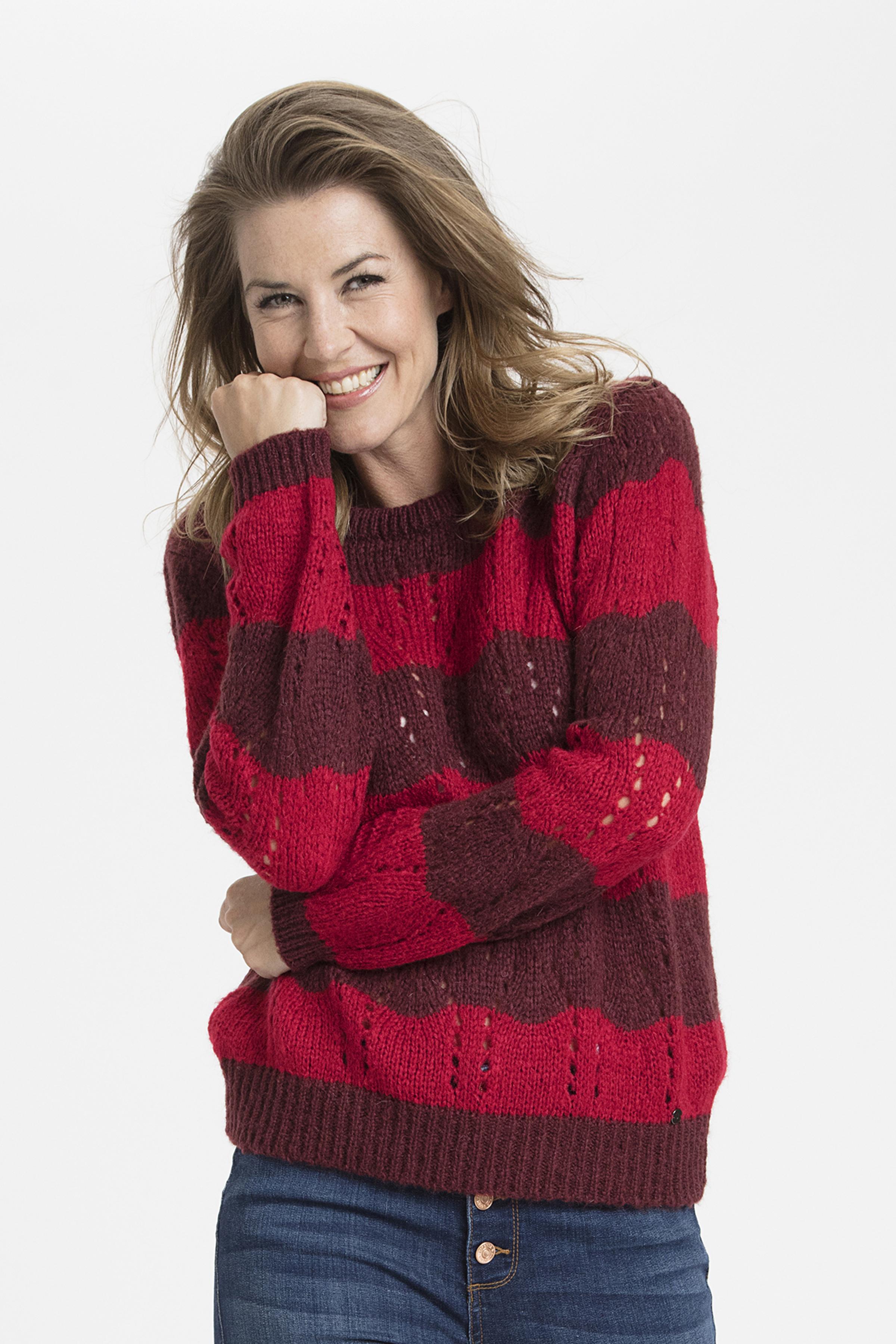 Bordeaux/röd Stickad pullover från Dranella – Köp Bordeaux/röd Stickad pullover från stl. XS-XXL här