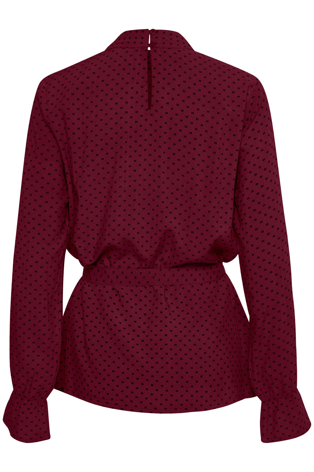 Bordeaux/sort Langærmet bluse fra Bon'A Parte – Køb Bordeaux/sort Langærmet bluse fra str. S-2XL her