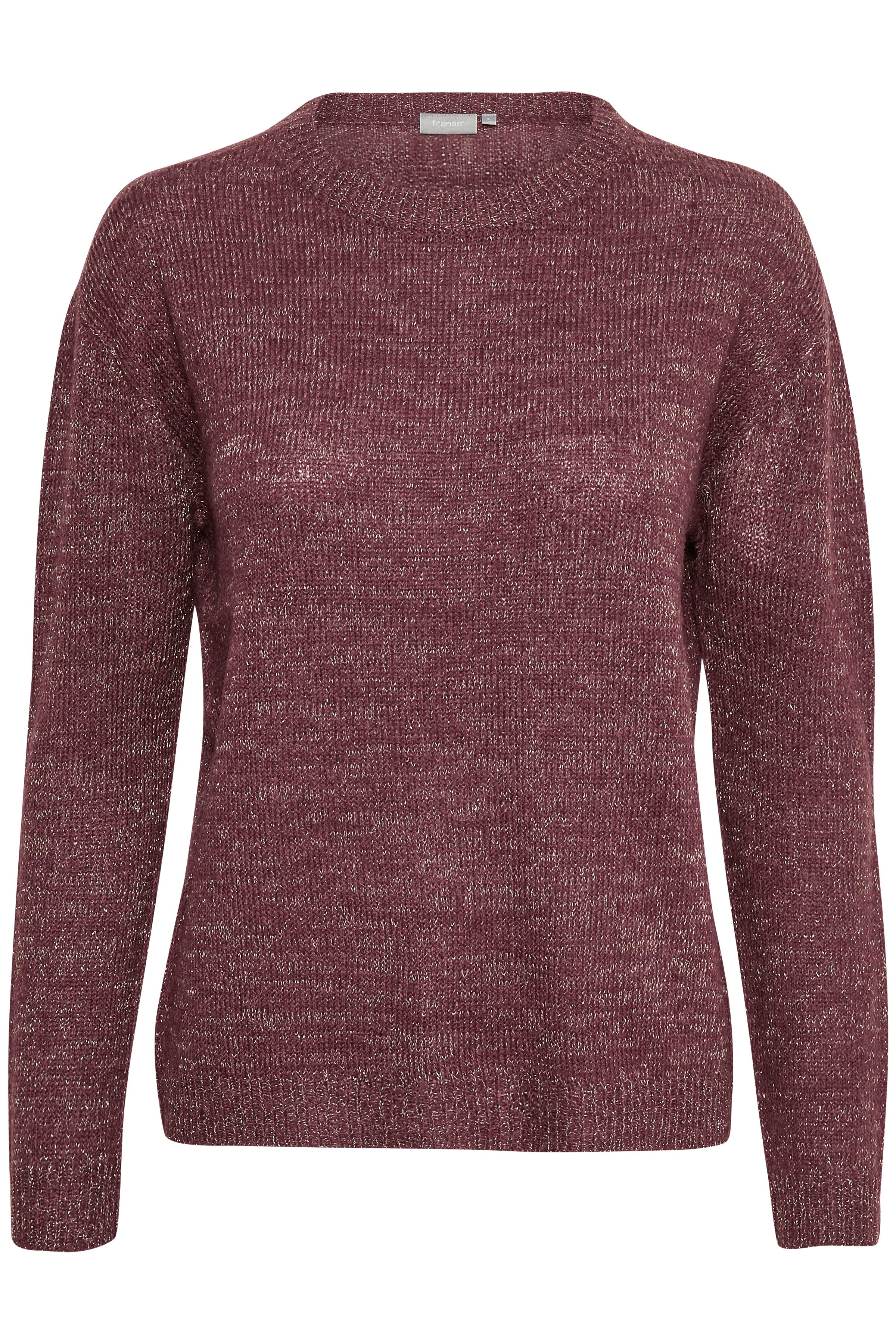 Bordeauxmelerad Stickad pullover från Fransa – Köp Bordeauxmelerad Stickad pullover från stl. XS-XXL här