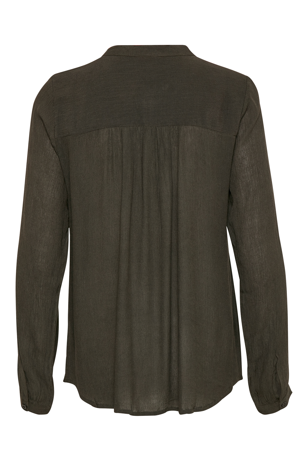 Brændt grøn Langærmet bluse fra Kaffe – Køb Brændt grøn Langærmet bluse fra str. 34-46 her