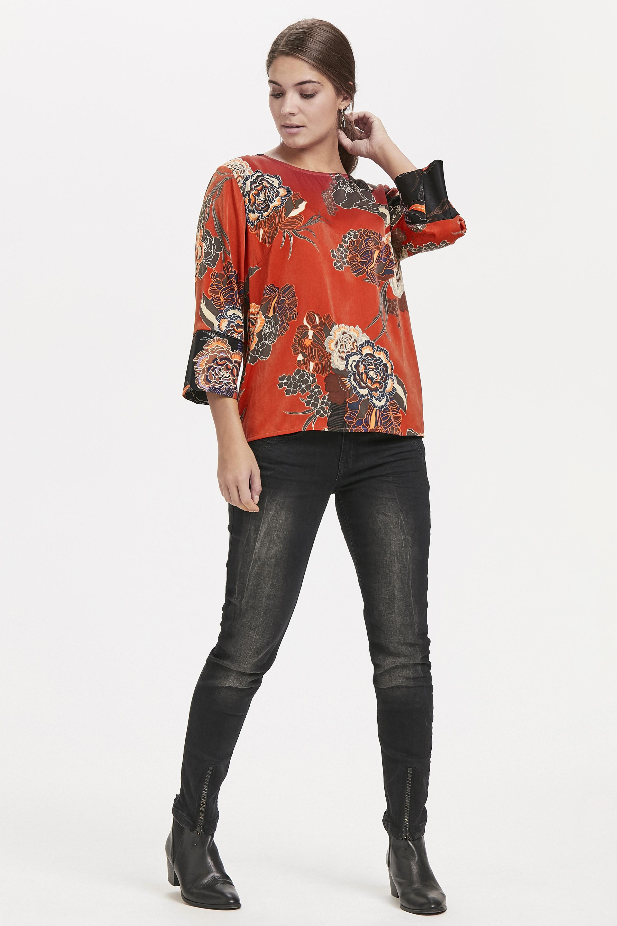 Brændt orange/mørk sand Kortærmet bluse fra Pulz Jeans – Køb Brændt orange/mørk sand Kortærmet bluse fra str. XS-XXL her