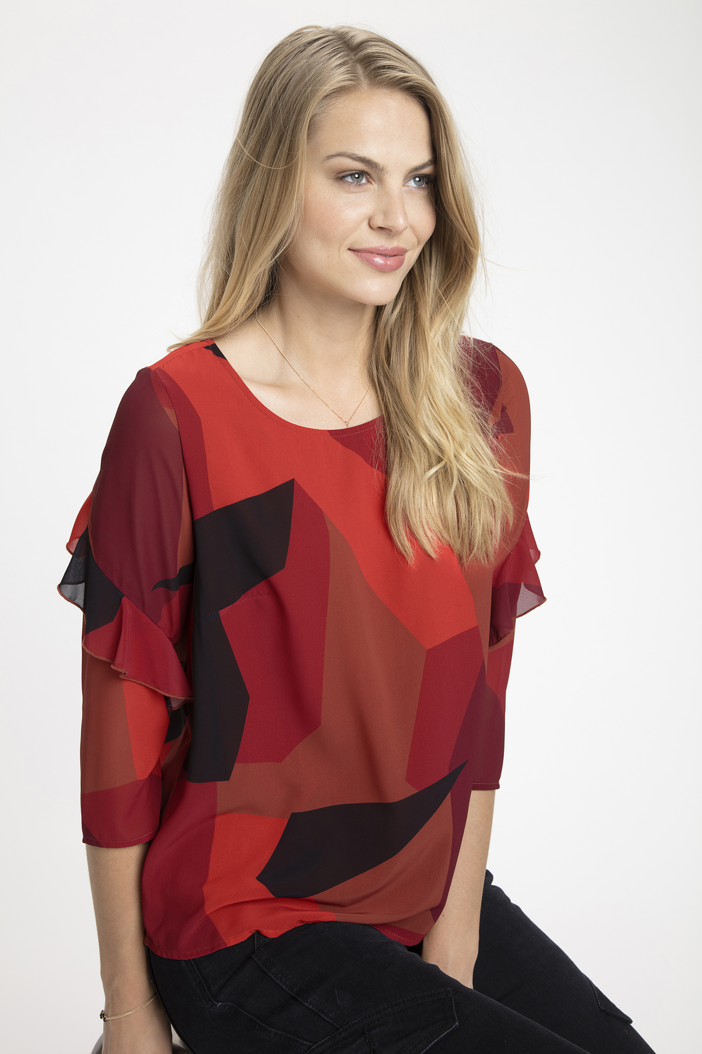 Brændt orange/rød Langærmet bluse fra Fransa – Køb Brændt orange/rød Langærmet bluse fra str. XS-XXL her