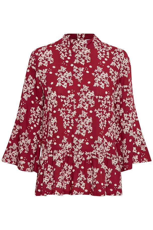 b1cf9772bed2 Brændt rød off-white Bluse fra Kaffe – Køb Brændt rød off-white Bluse fra  str.