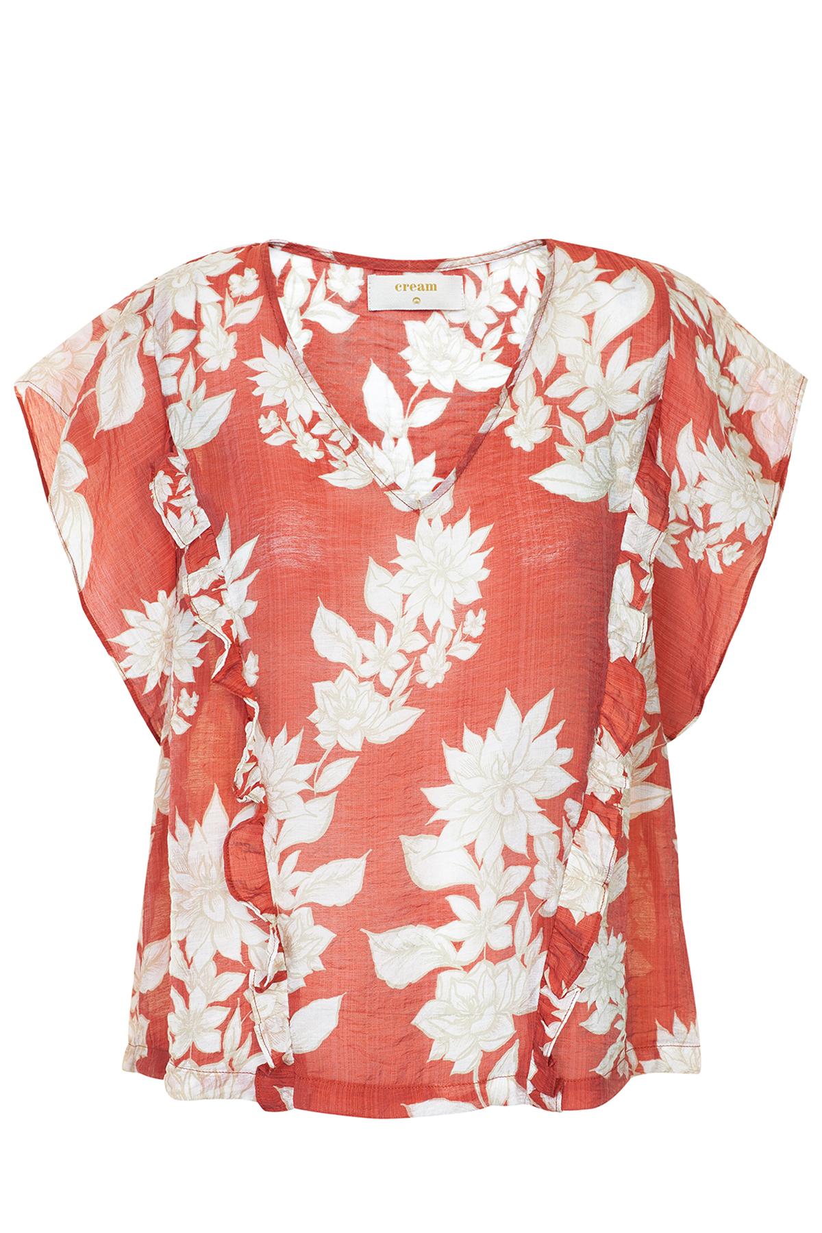 Image of Cream Dame Kortærmet bluse - Brændt rød/off-white