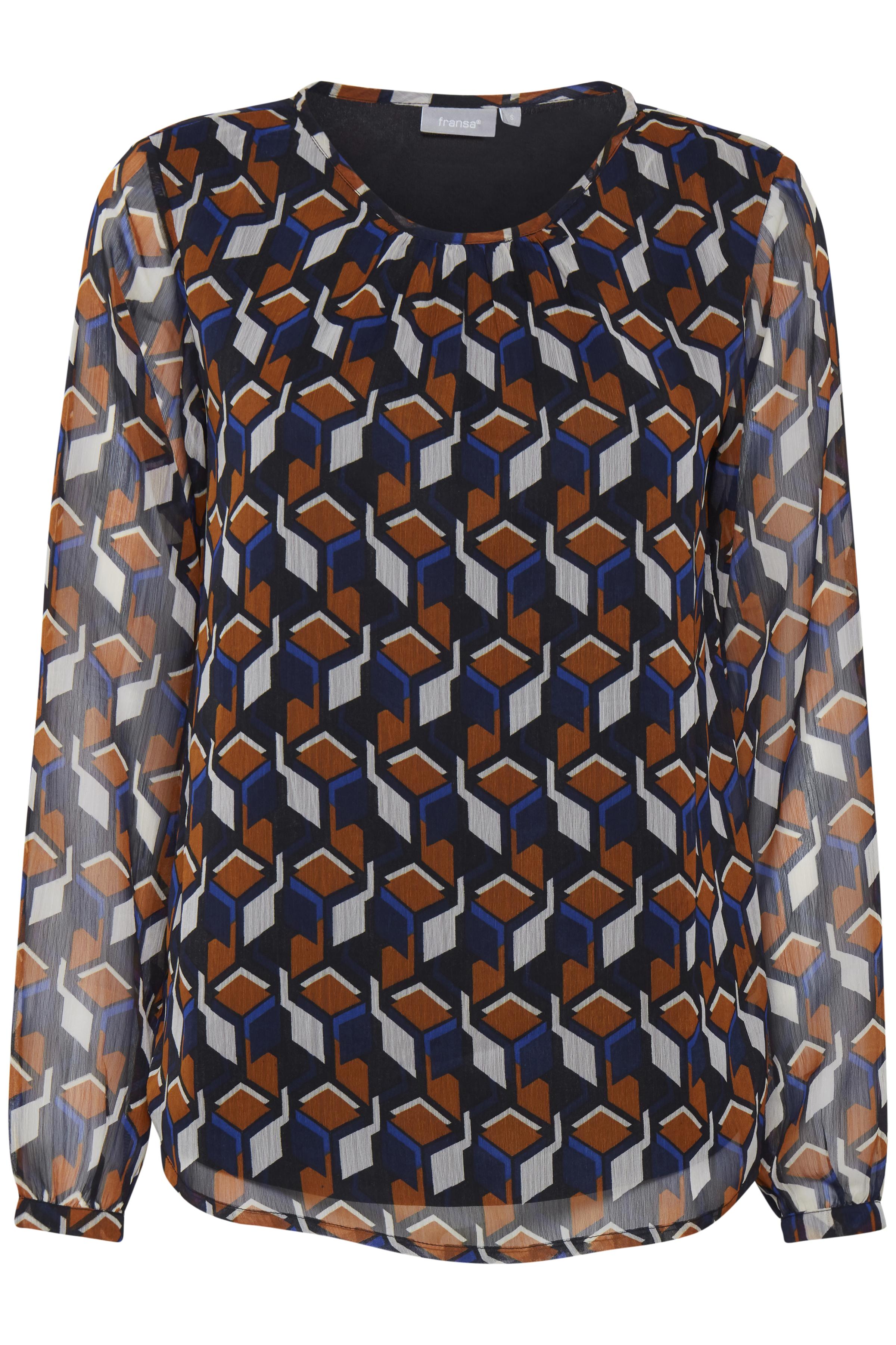 Brun/marineblå Langærmet bluse fra Fransa – Køb Brun/marineblå Langærmet bluse fra str. XS-XXL her
