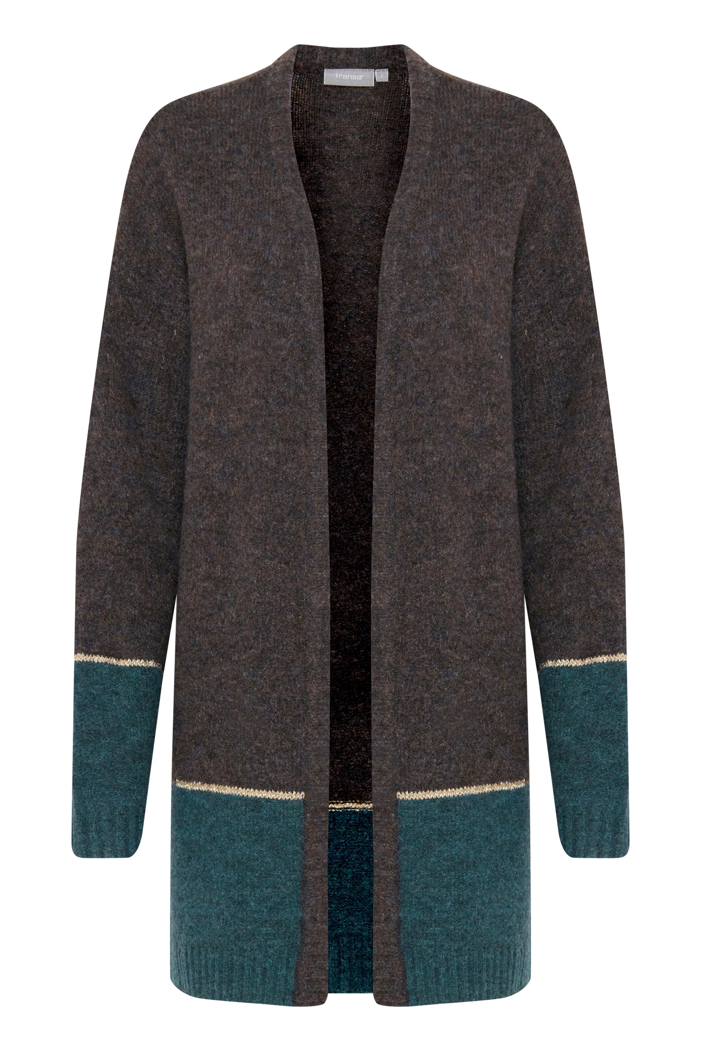 Fransa Dame Åbenstående strik cardigan med uld - Brun/petrol