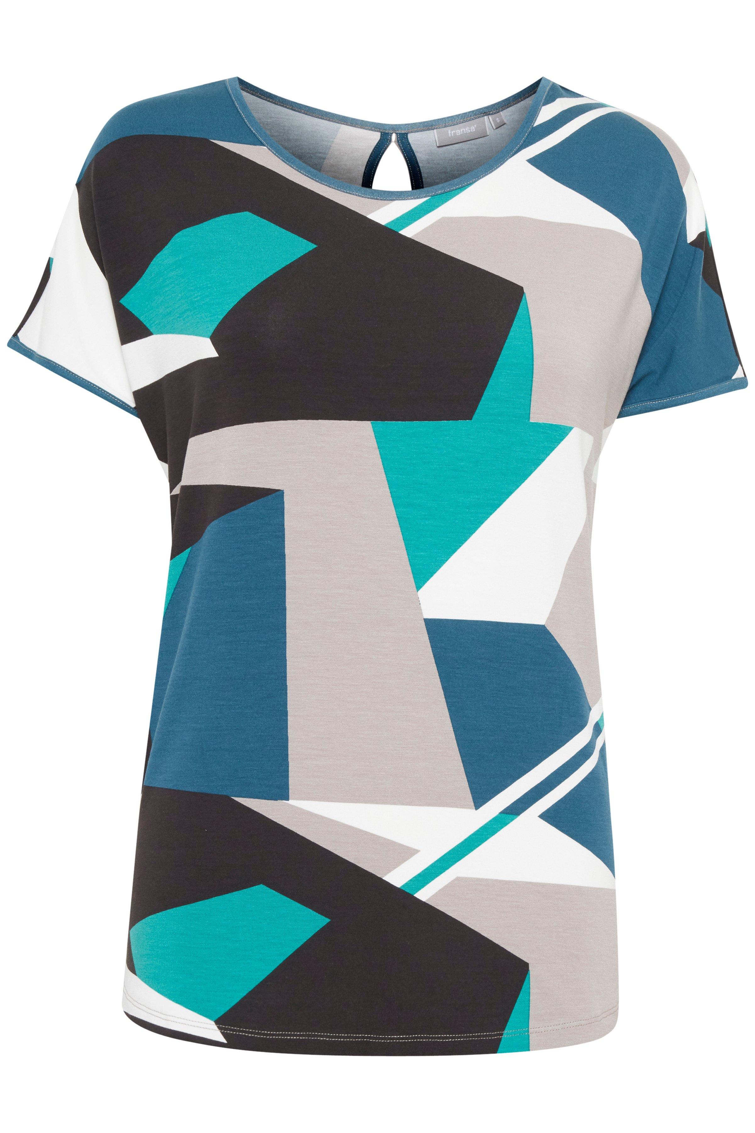 Buteljgrön/grå Kortärmad T-shirt från Fransa – Köp Buteljgrön/grå Kortärmad T-shirt från stl. XS-XXL här