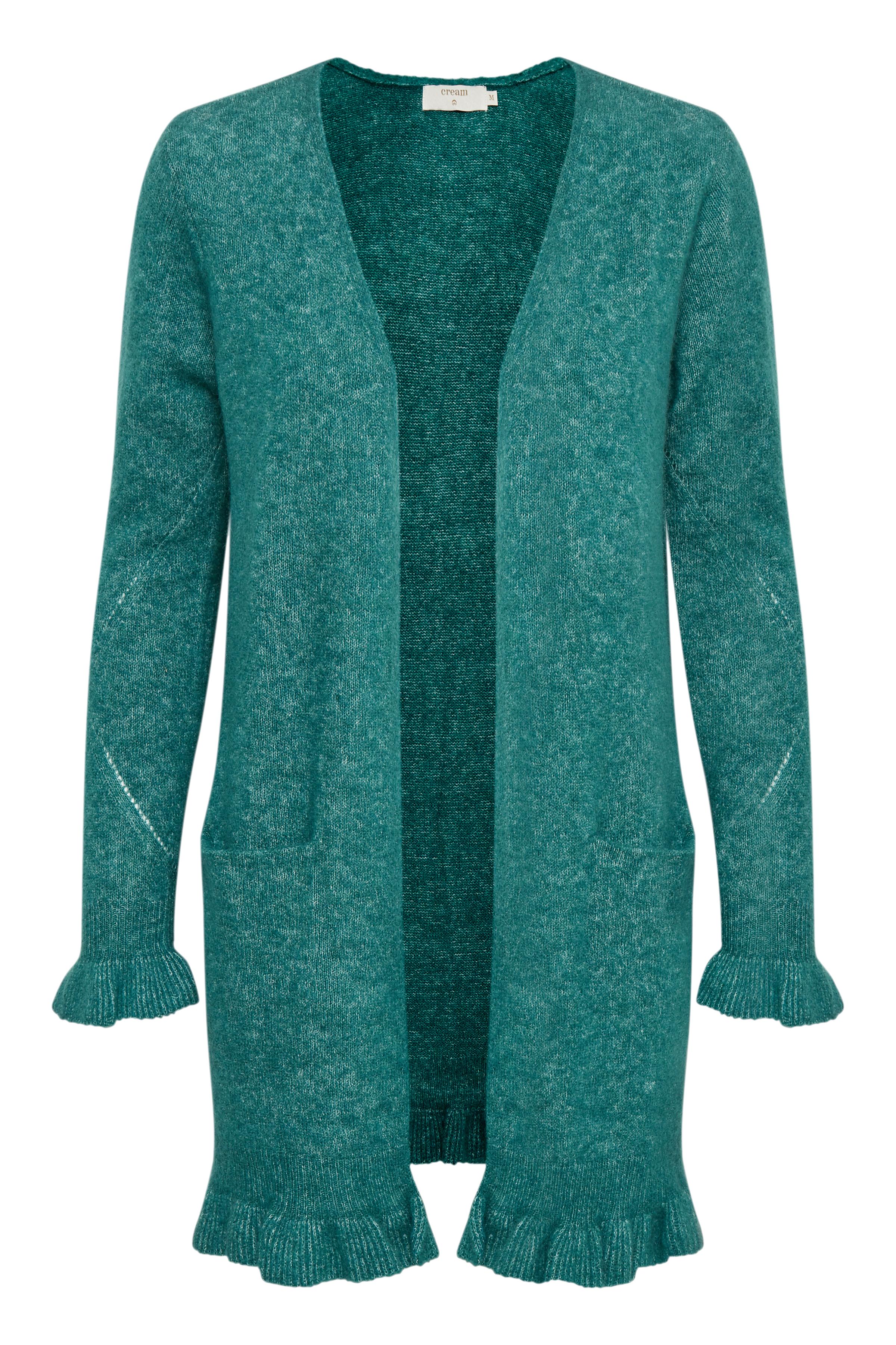 Buteljgrön melerad Stickad cardigan från Cream – Köp Buteljgrön melerad Stickad cardigan från stl. XS-XXL här