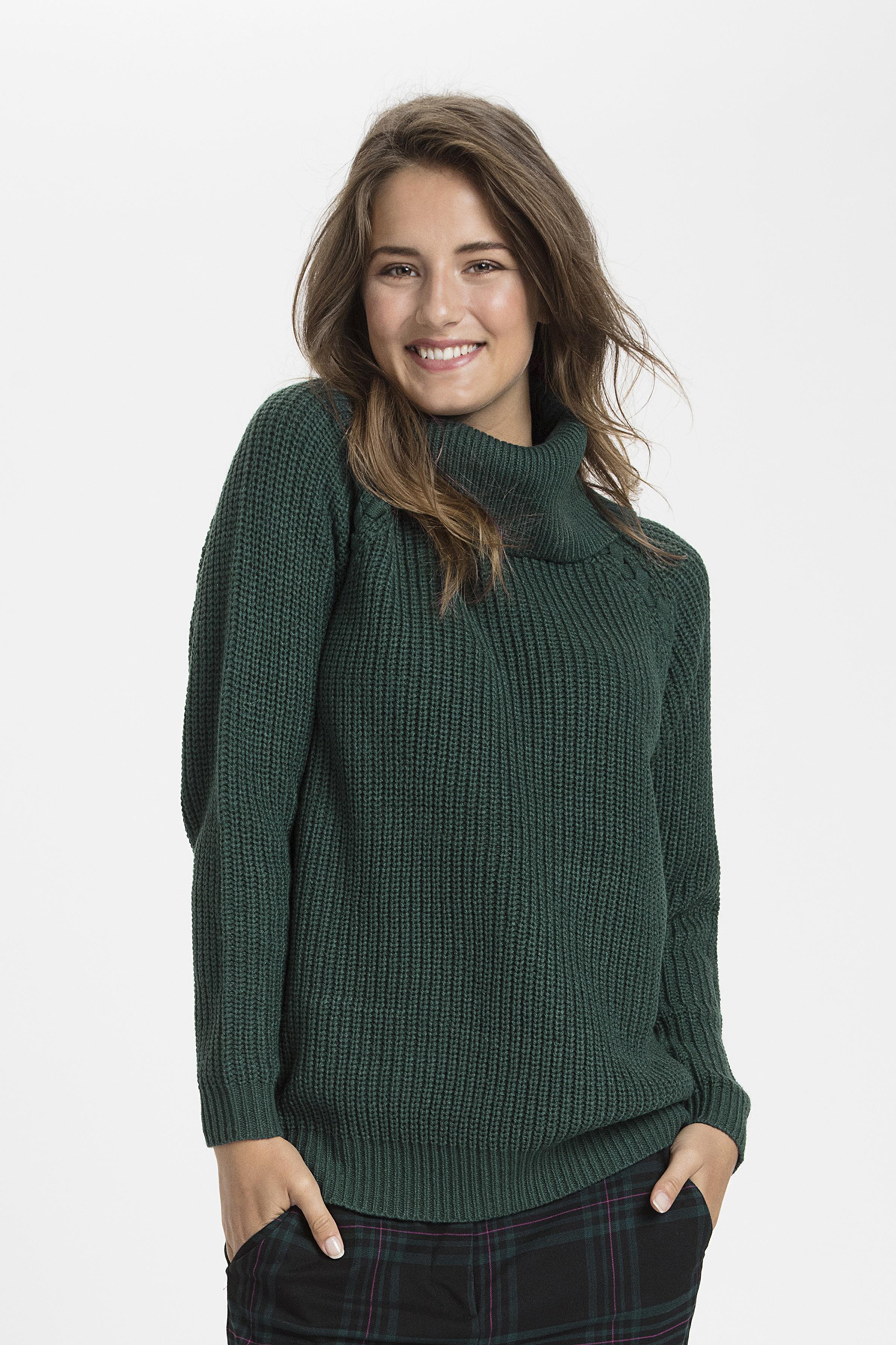 Buteljgrön Stickad pullover från b.young – Köp Buteljgrön Stickad pullover från stl. XS-XXL här