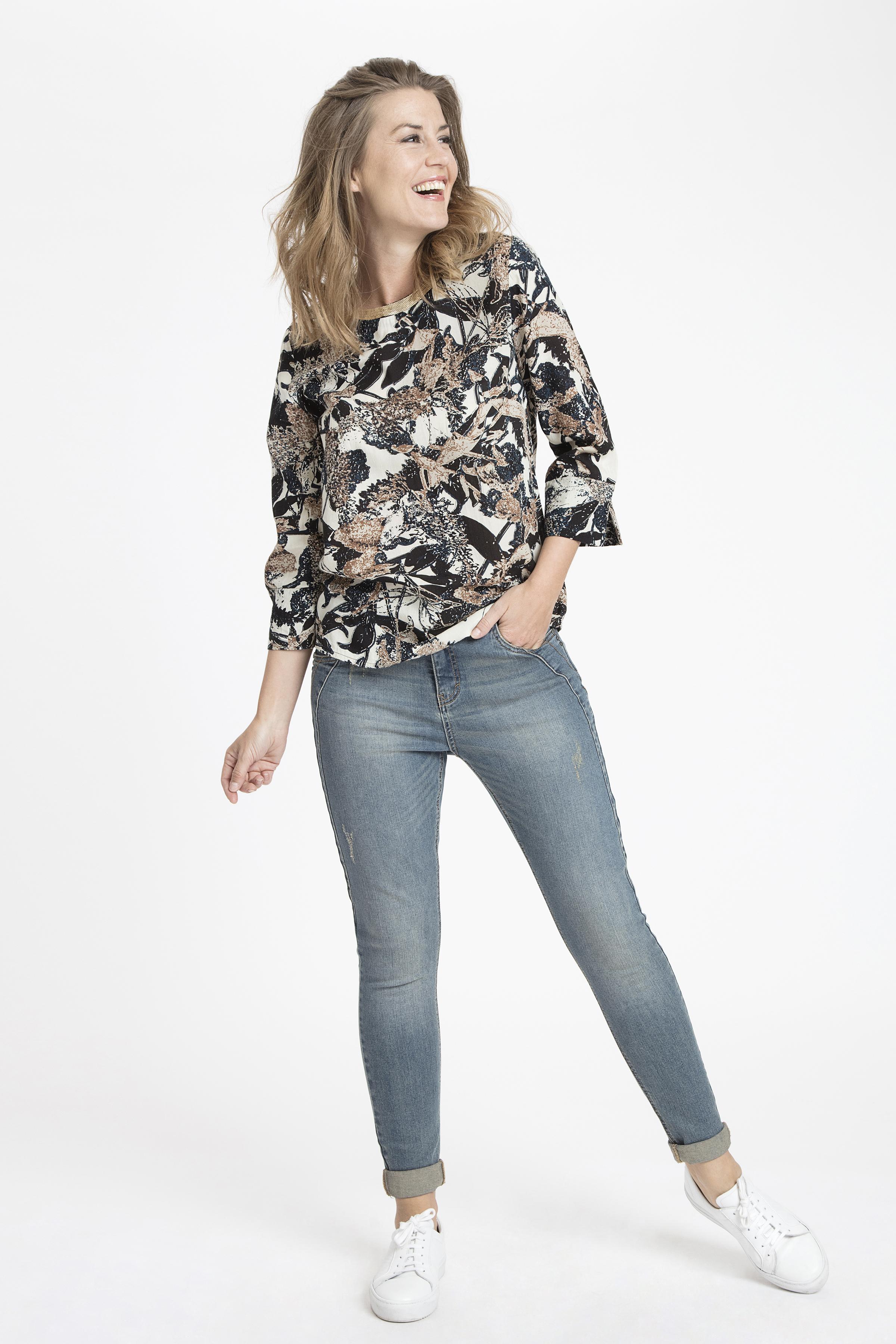 Creme/blå Langærmet bluse fra Bon'A Parte – Køb Creme/blå Langærmet bluse fra str. S-2XL her