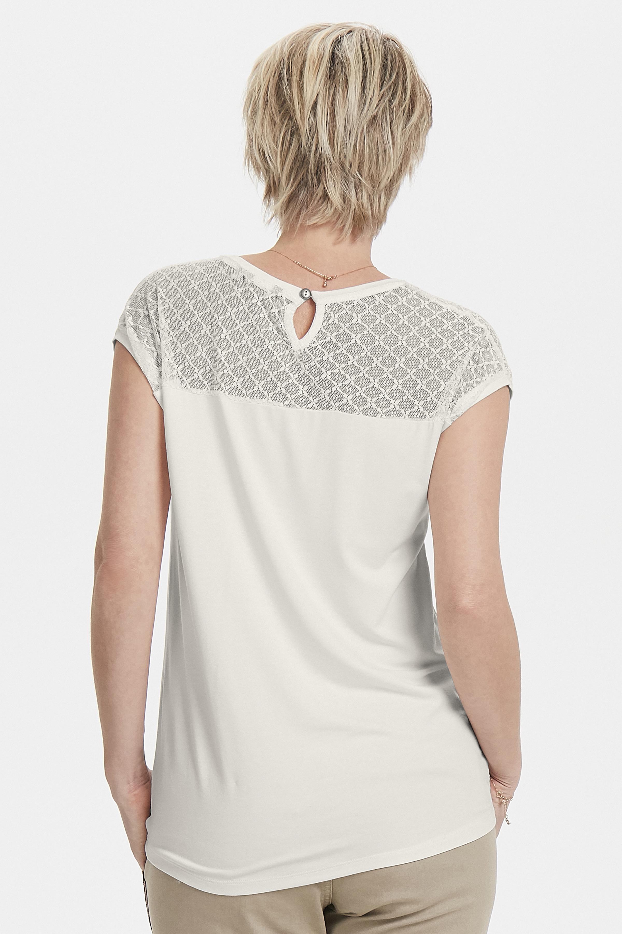 Creme Kurzarm-Bluse  von Bon'A Parte – Shoppen Sie Creme Kurzarm-Bluse  ab Gr. S-2XL hier