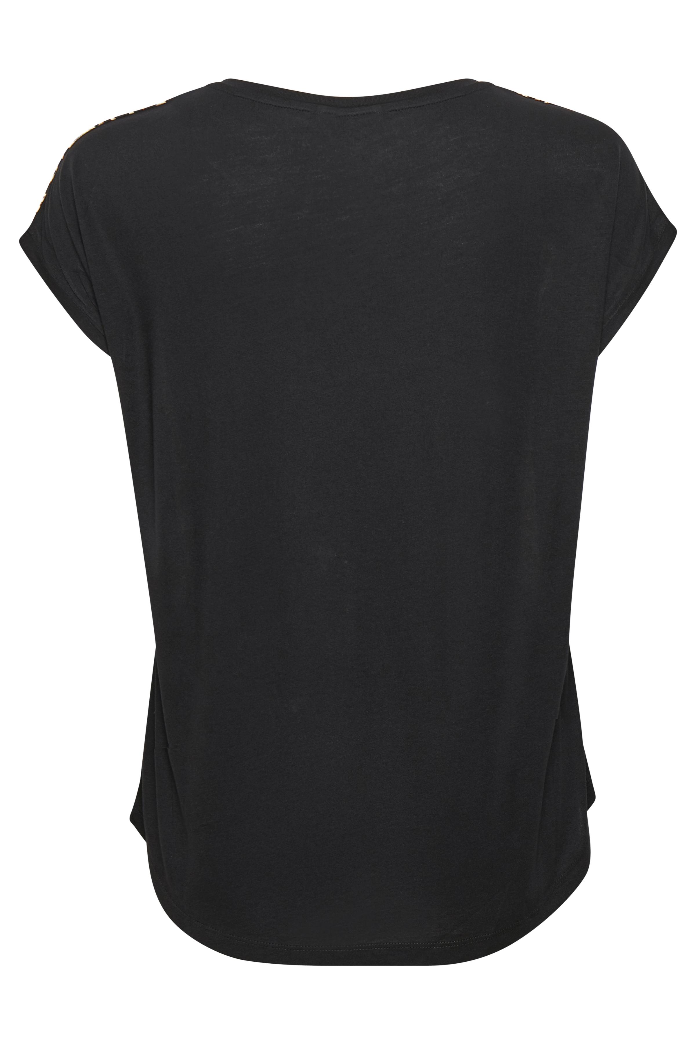 Crème/zwart Korte mouwen shirt  van Bon'A Parte – Door Crème/zwart Korte mouwen shirt  van maat. S-2XL hier