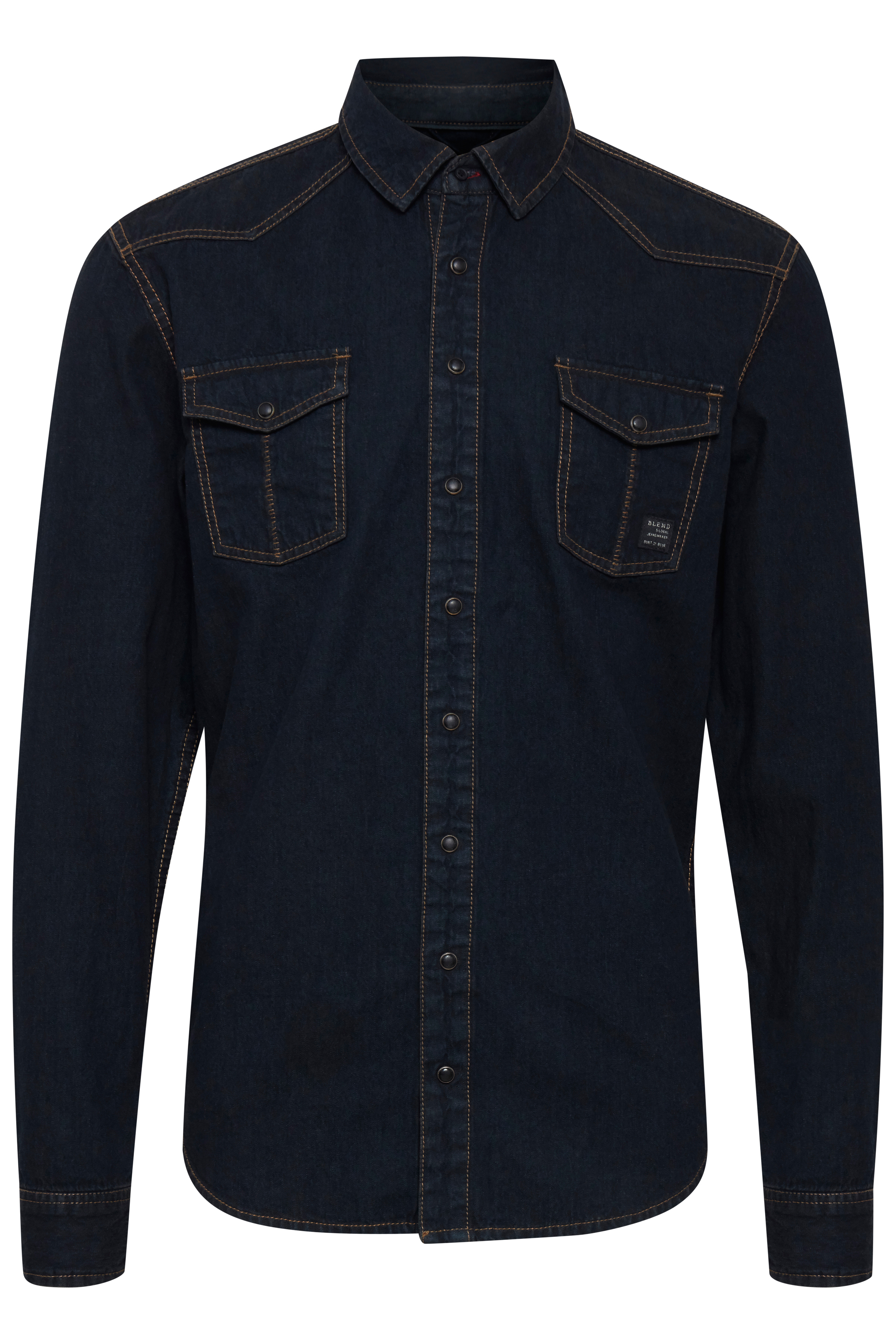 Image of Blend He Herre Langærmet skjorte - Denim Black Blue