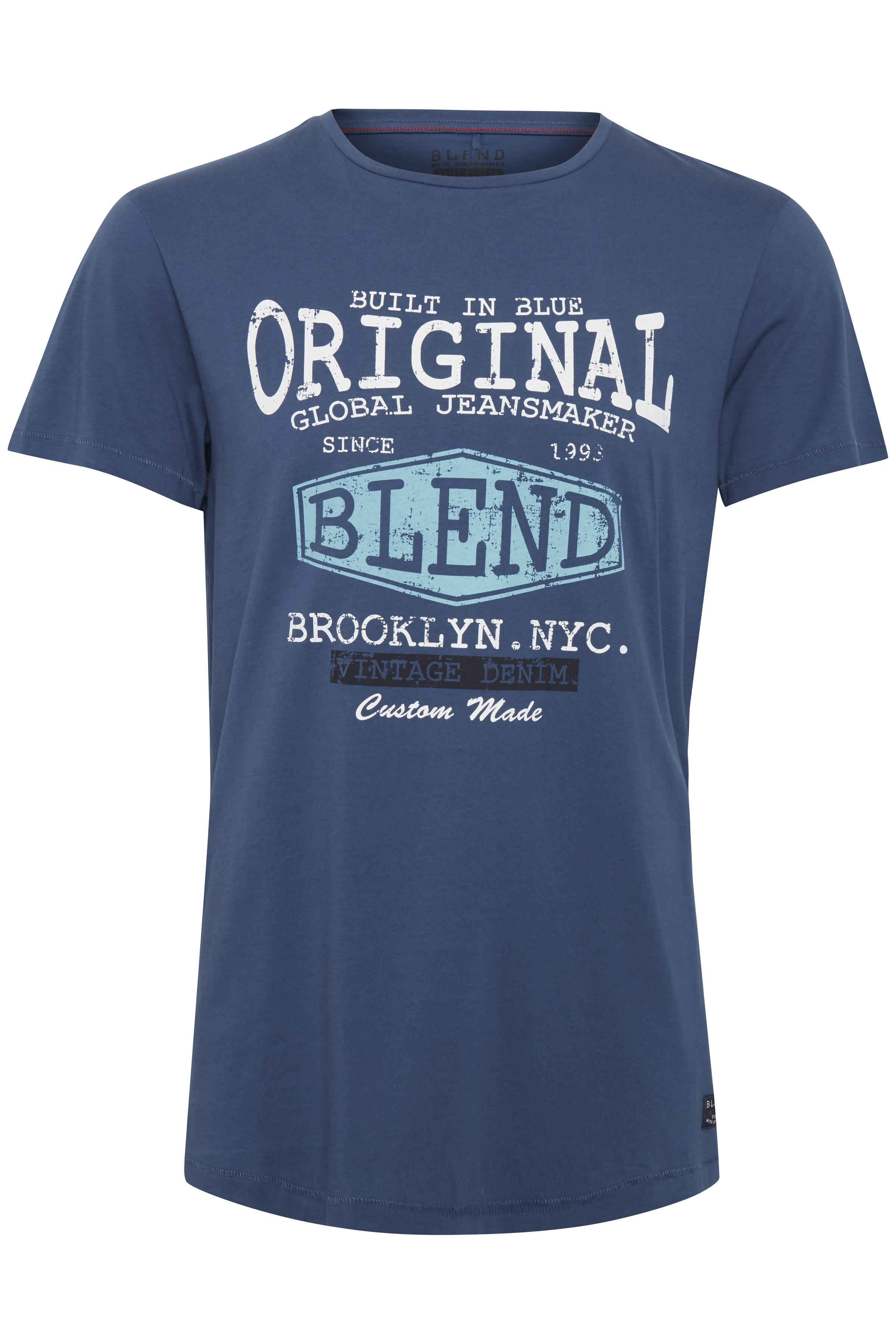 Denim Blue Kortærmet T-shirt fra Blend He – Køb Denim Blue Kortærmet T-shirt fra str. S-3XL her