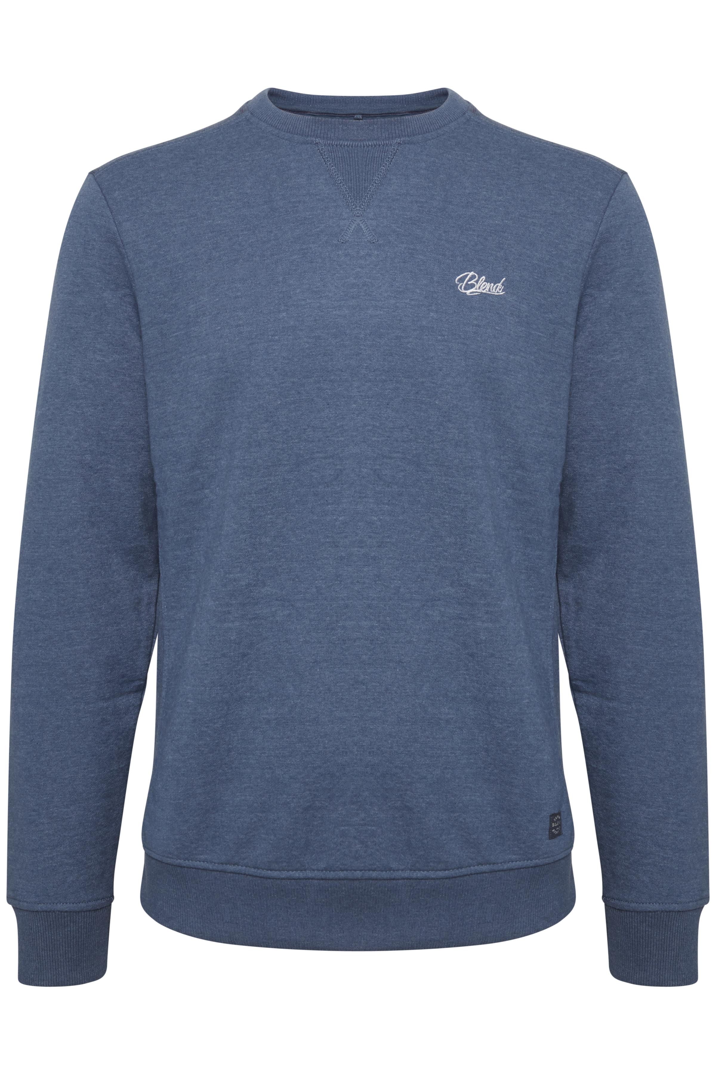 Blend He Herre BLEND sweatshirt med lange ærmer og rund hals. Denne sweatshirt - Denim Blue