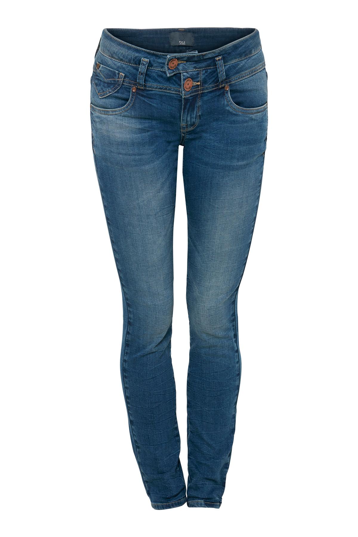 Image of Pulz Jeans Dame PULZ: 5-lommet Anett jeans i denimkvalitet med slid detaljer og vask for et råt udtryk. De populære bukserne - Denimblå