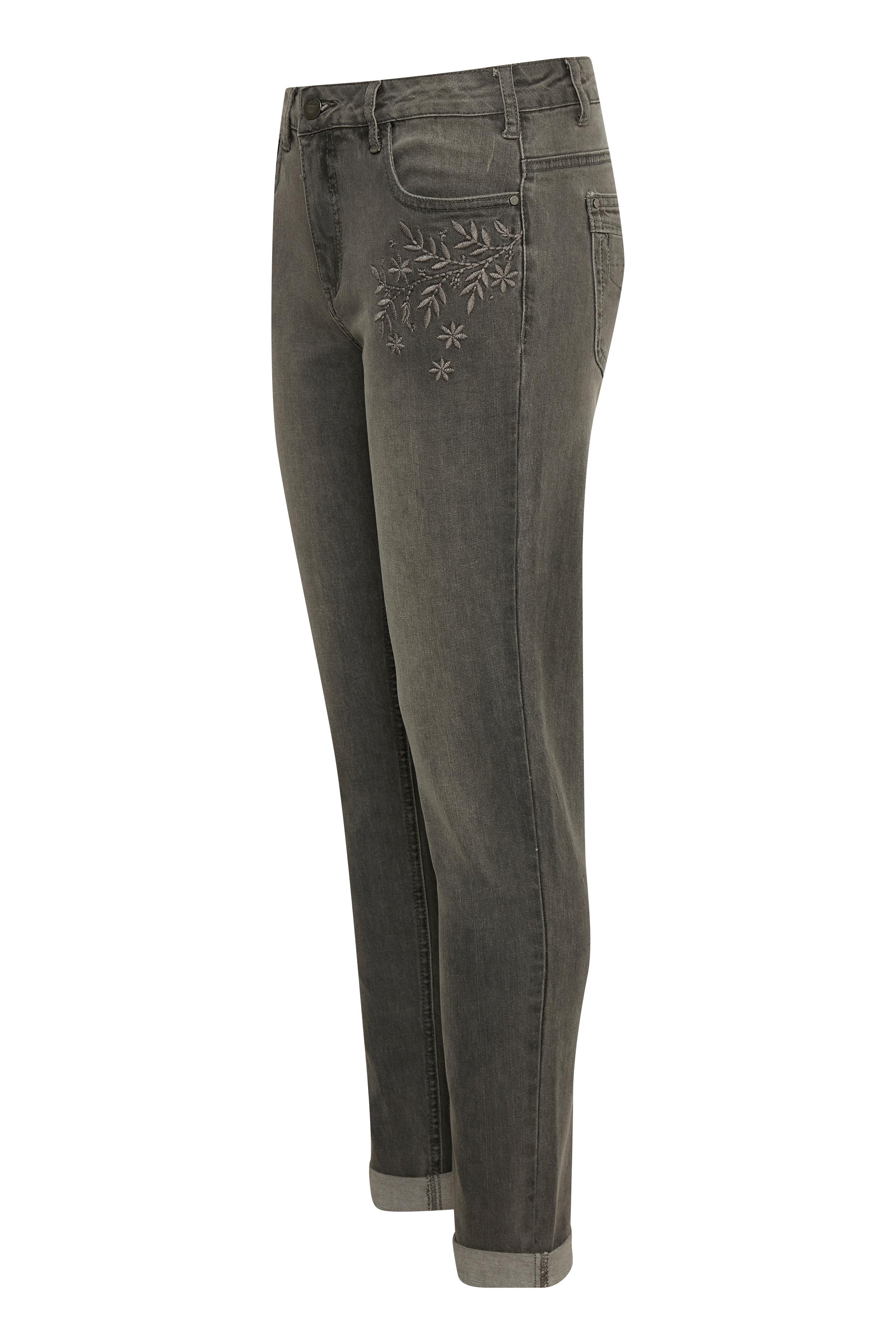 Denimgrå Casual byxor från Bon'A Parte – Köp Denimgrå Casual byxor från stl. 36-48 här