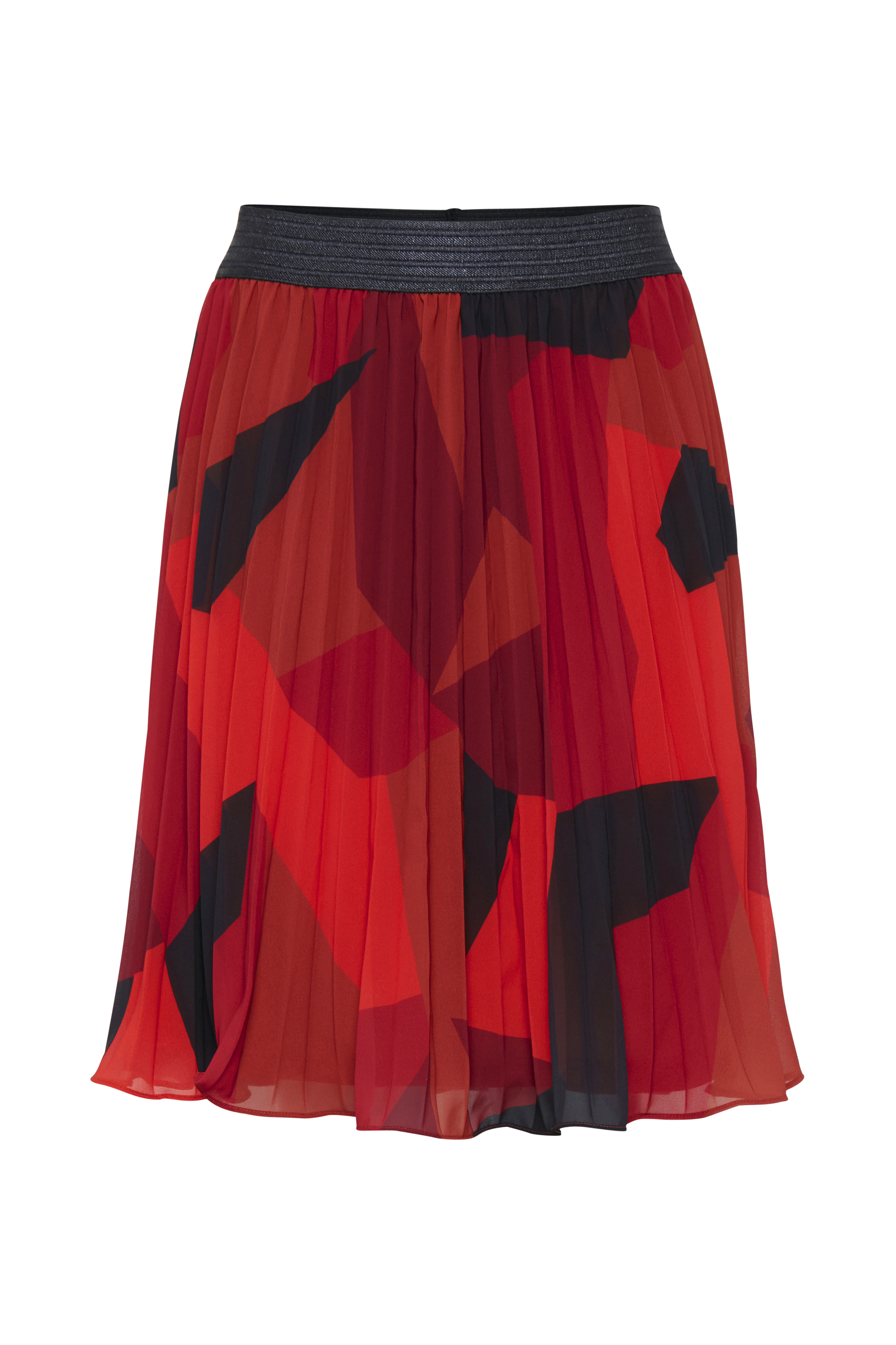 Fransa Dame A-lijn rok van FRANSA met een brede elastische band in de taille. Lichtgewicht kwaliteit.met voering. Plissé effect. Draag de rok met een T-shirt of ga all-in met een bijpassende blouse en een paar pumps. - Dieporanje/zwart