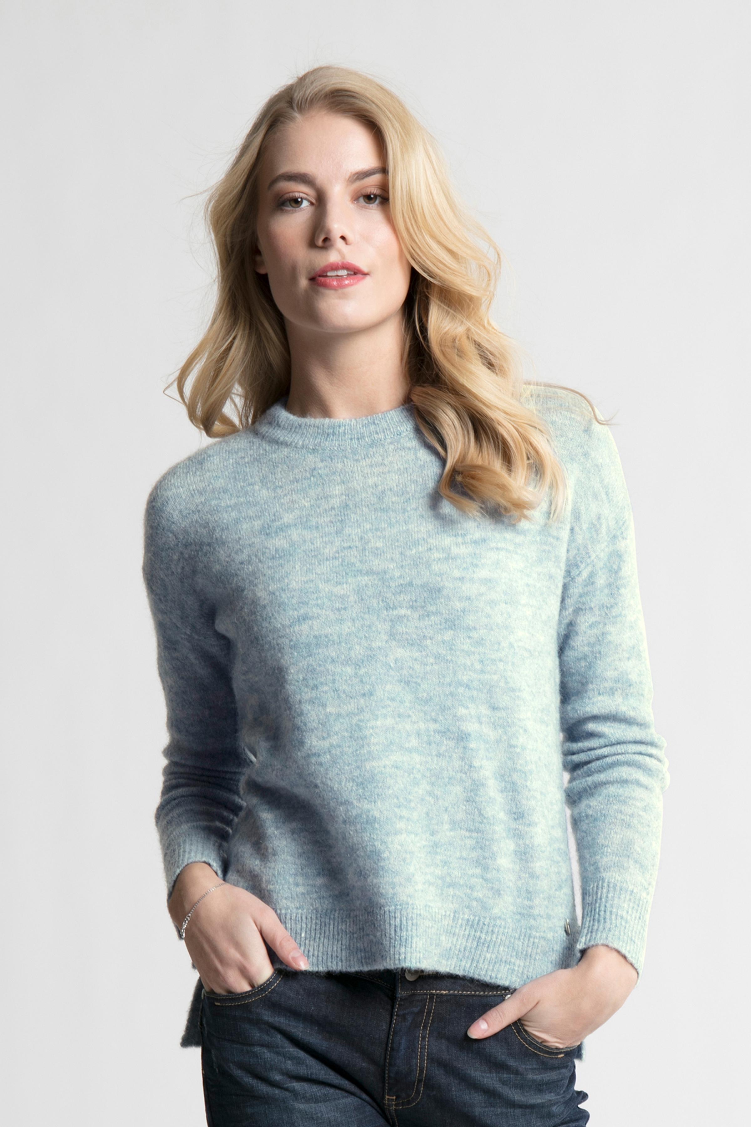 Dim blåmelerad Stickad pullover från Bon'A Parte – Köp Dim blåmelerad Stickad pullover från stl. S-2XL här