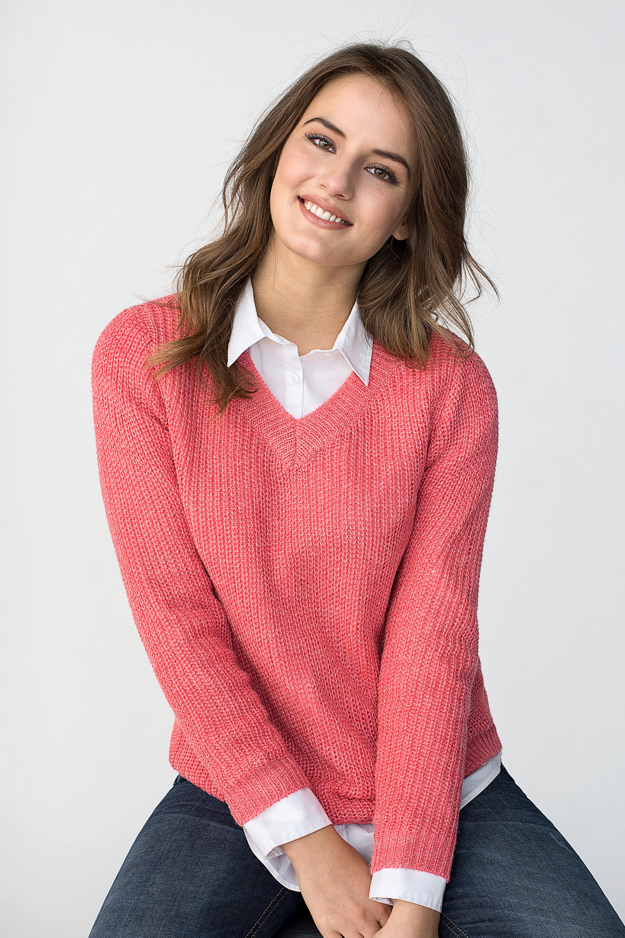 Dim rosamelerad Stickad pullover från Bon'A Parte – Köp Dim rosamelerad Stickad pullover från stl. S-2XL här
