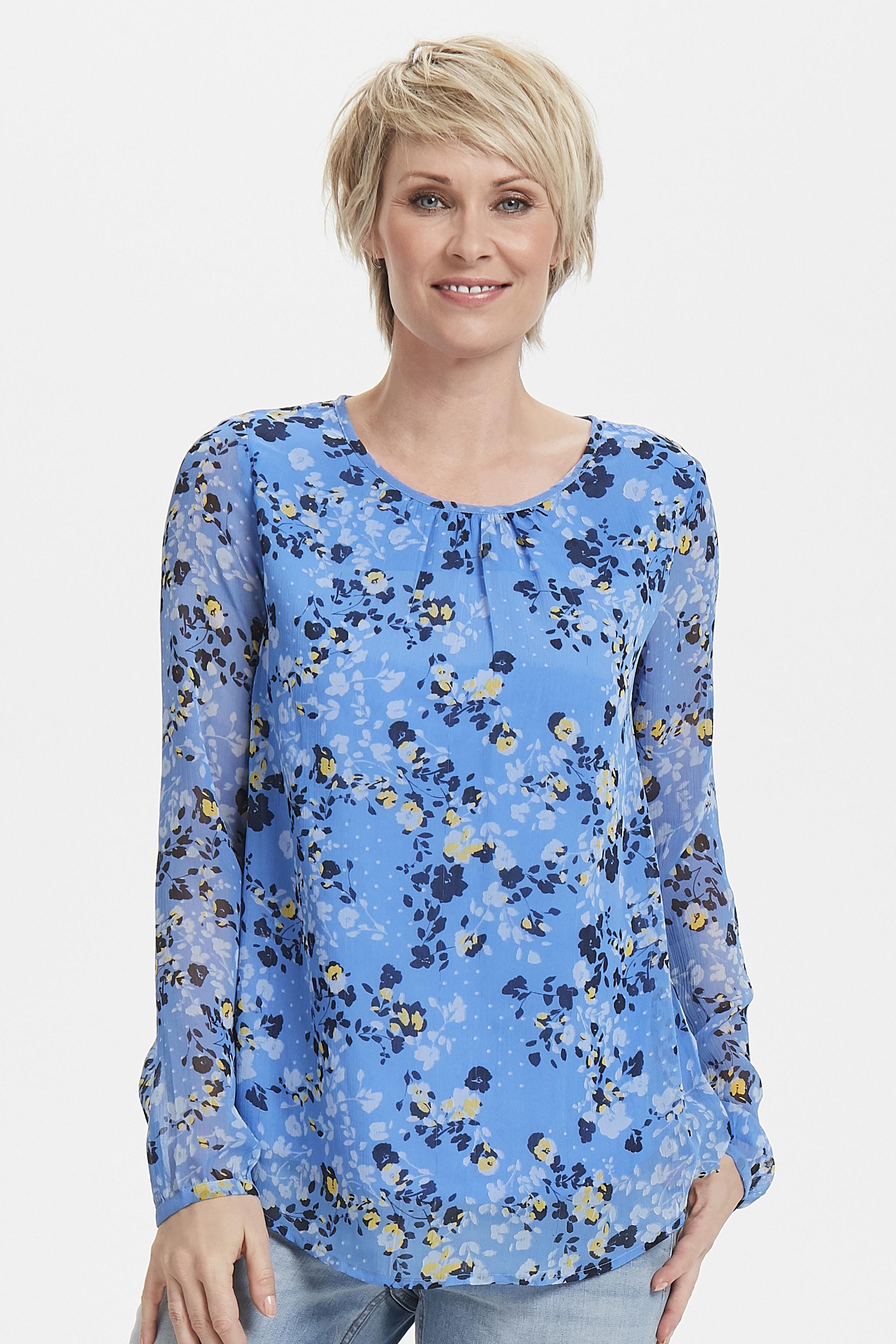 Dimblå/marinblå Långärmad blus från Fransa – Köp Dimblå/marinblå Långärmad blus från stl. XS-XXL här