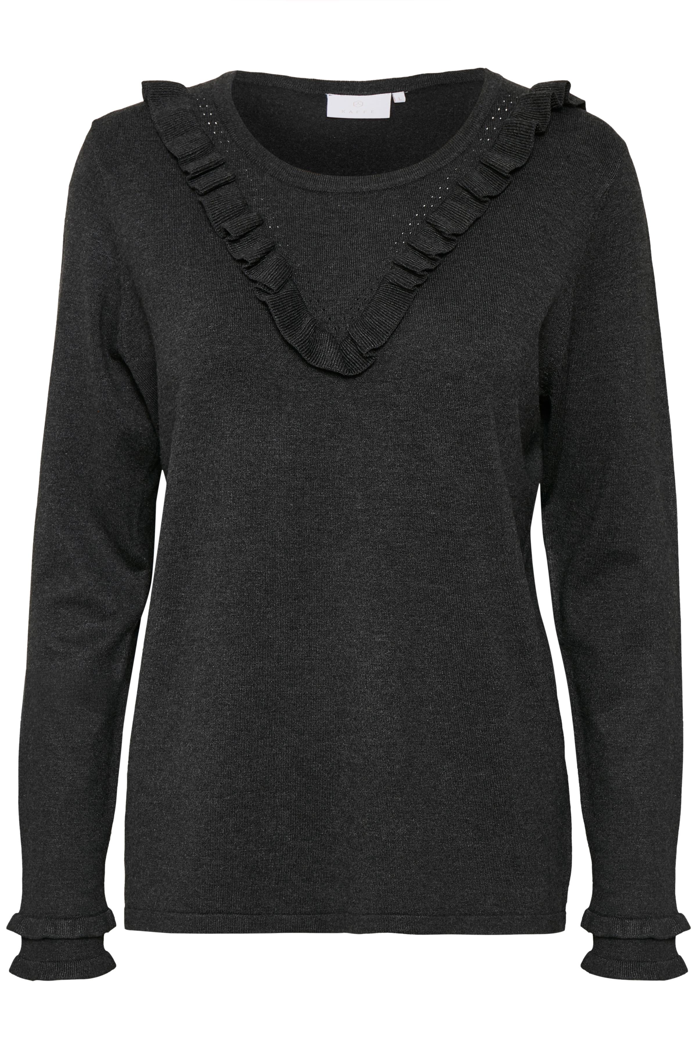 Donker grijsgemêleerd Gebreide pullover van Kaffe – Door Donker grijsgemêleerd Gebreide pullover van maat. XS-XXL hier